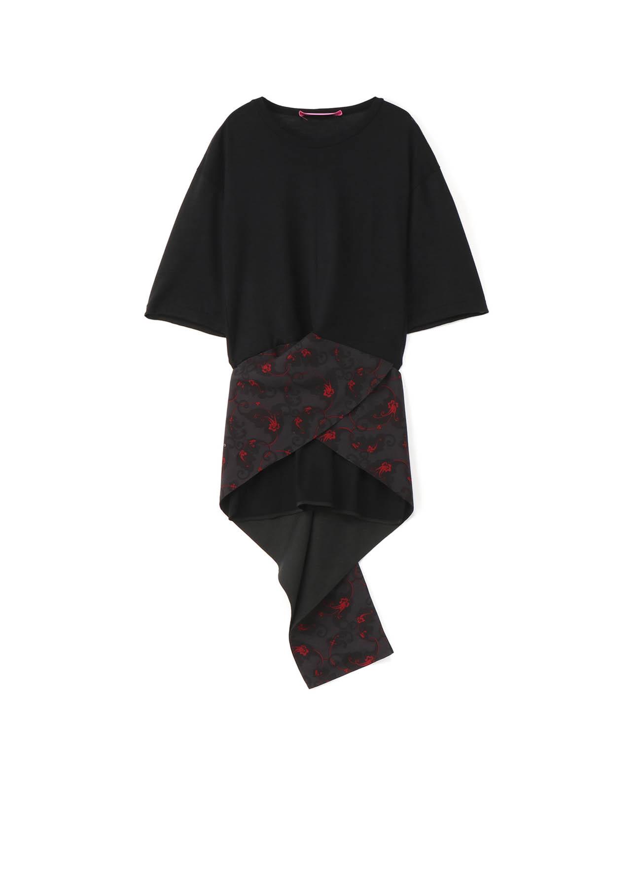 Y'sPINK ウールx花柄更紗プリント 裾巻きTシャツ