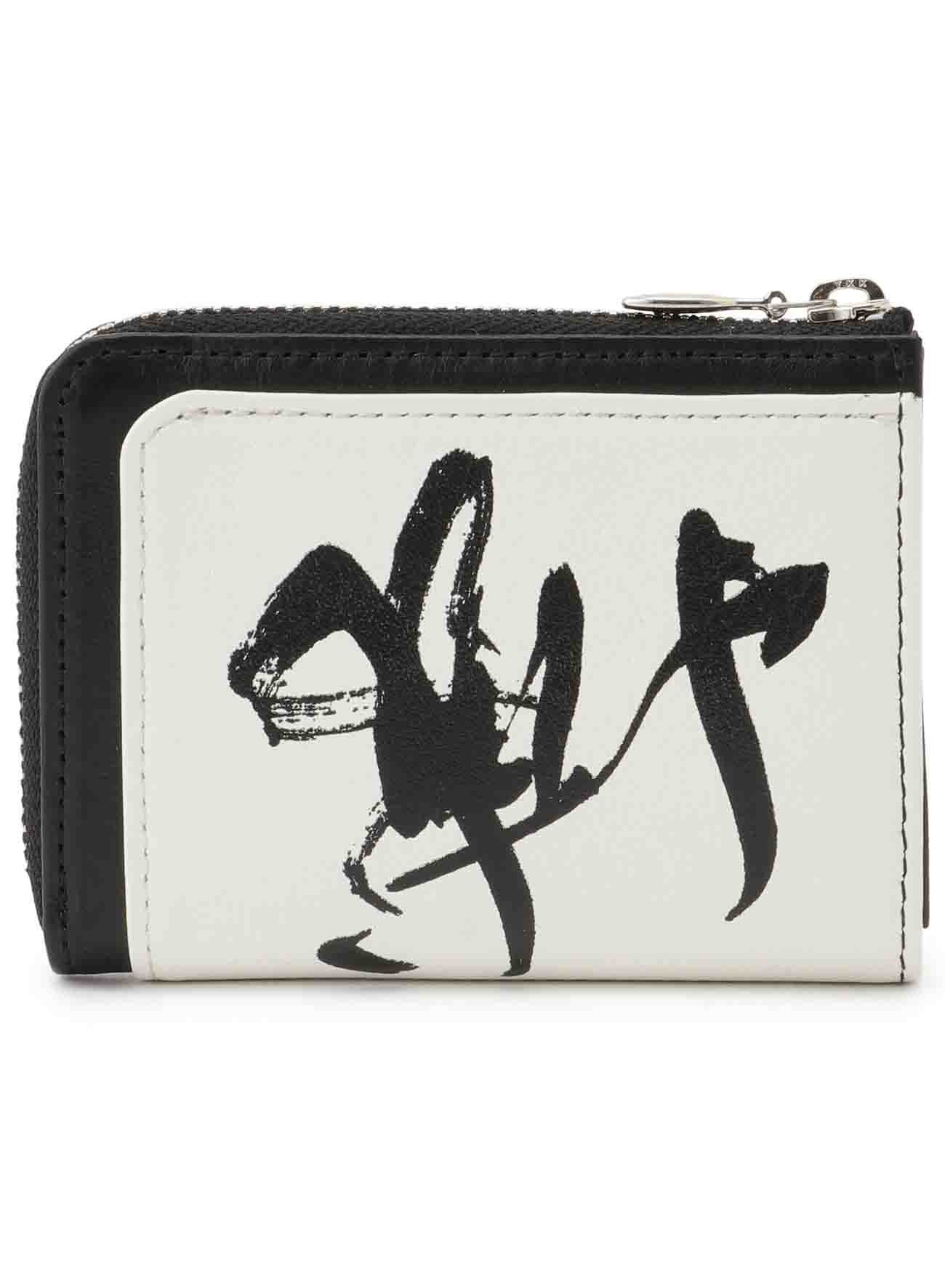 CALLIGRAPHY PRINT LEATHER MINI WALLET