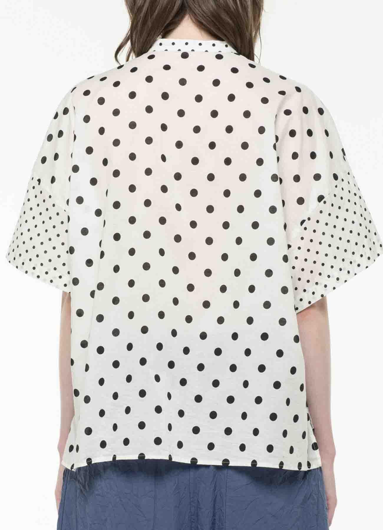 60S LAWN CLOTH DOT PRINT BOX SHIRT