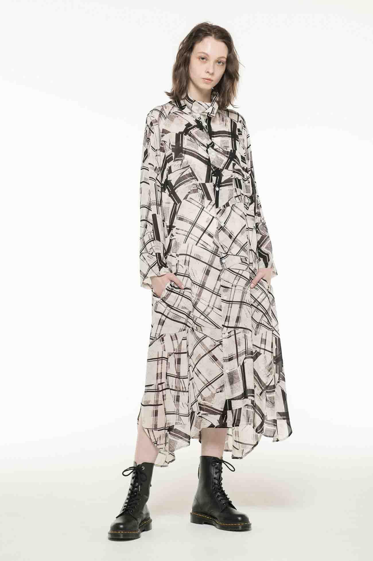 Cu/DEFORMATION CHECK GEORGETTE DRESS