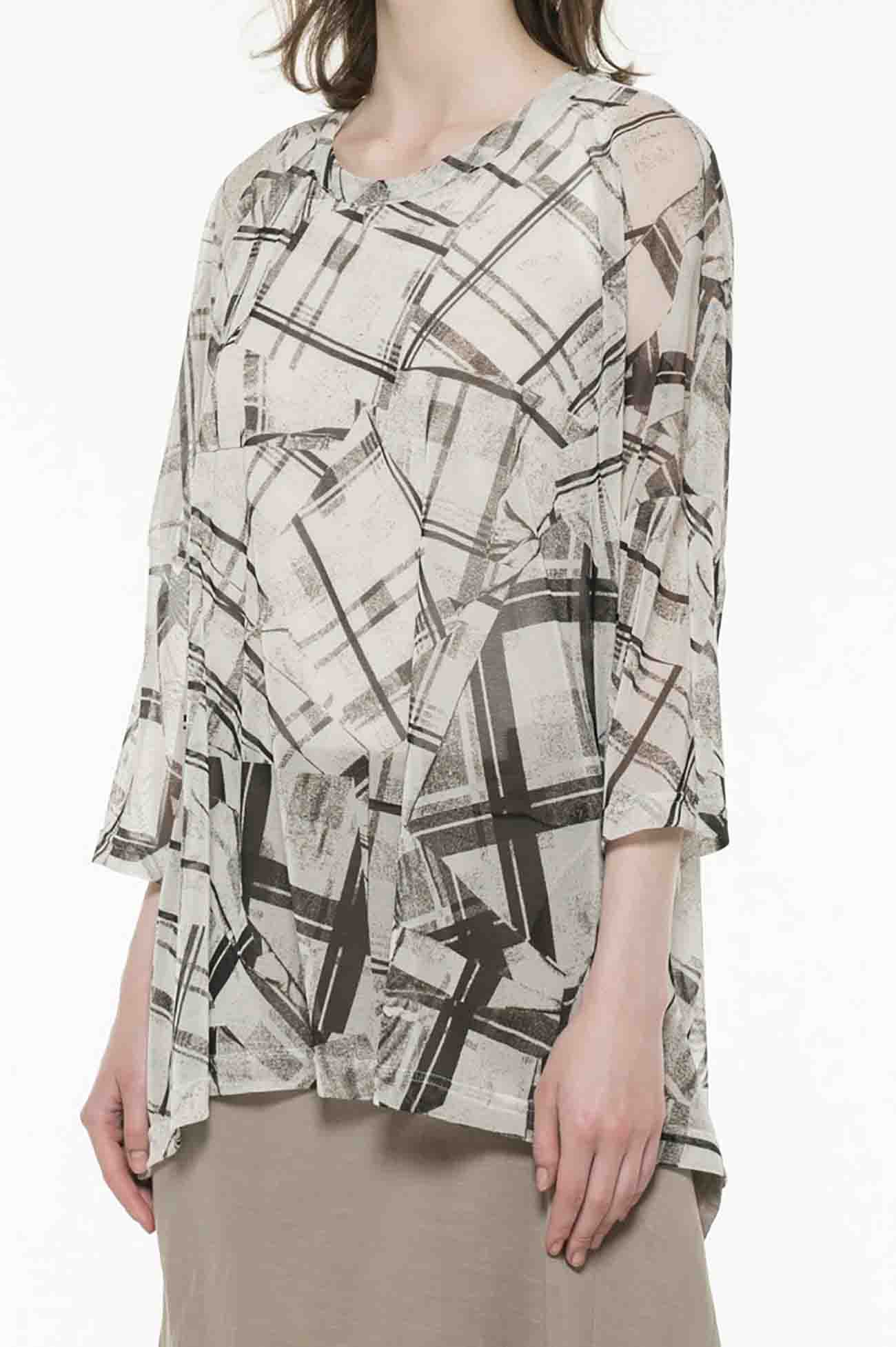 PeTULLE COLLAGE CHECK PRINT ROUND NECK BIG T