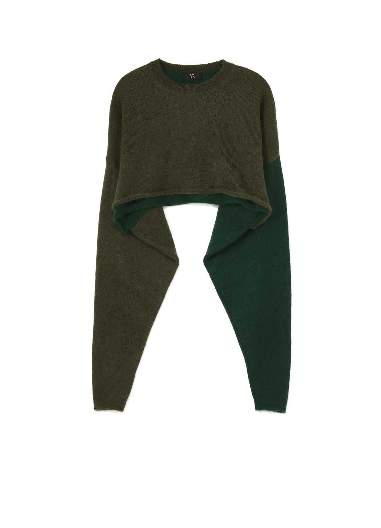 WOOL MOHAIR PLAIN STITCH COLOR COMBI PULLOVER