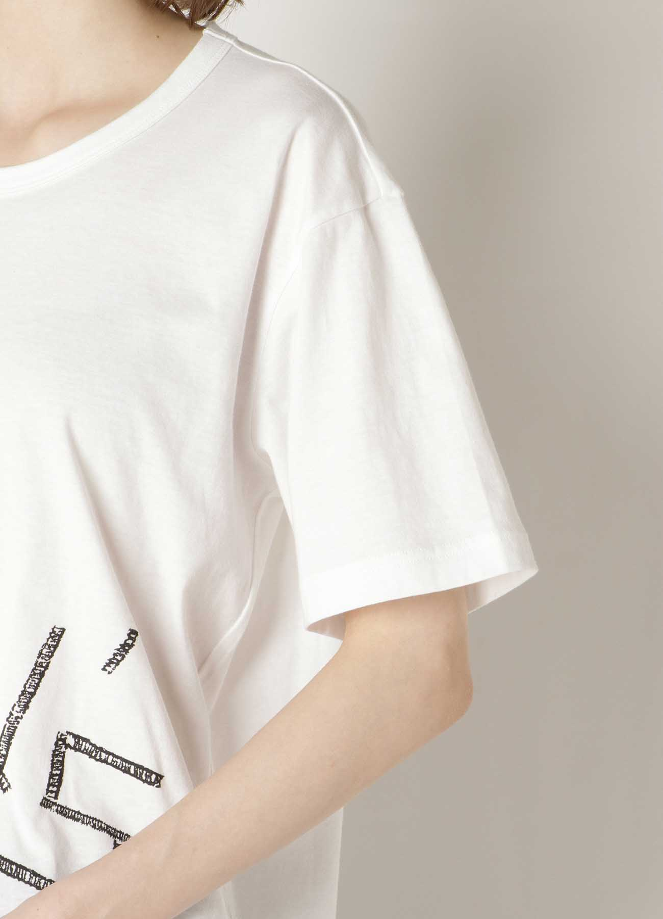 EMBROIDERY FIRE PRINT ROUND NECK SHORT SLEEVE