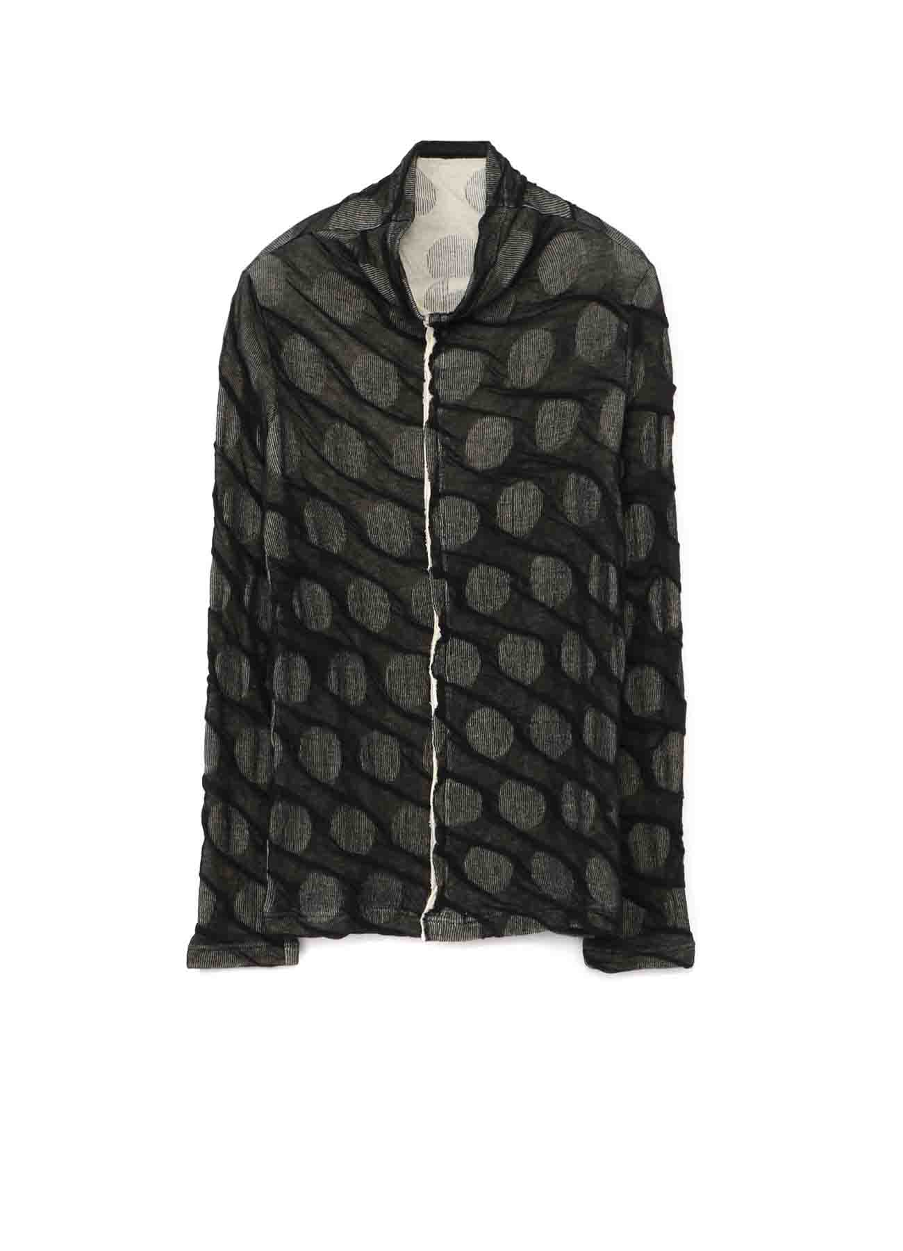 DOT DUAL-LAYER FRONT PANEL HIGHT NECK LONG SLEEVE T