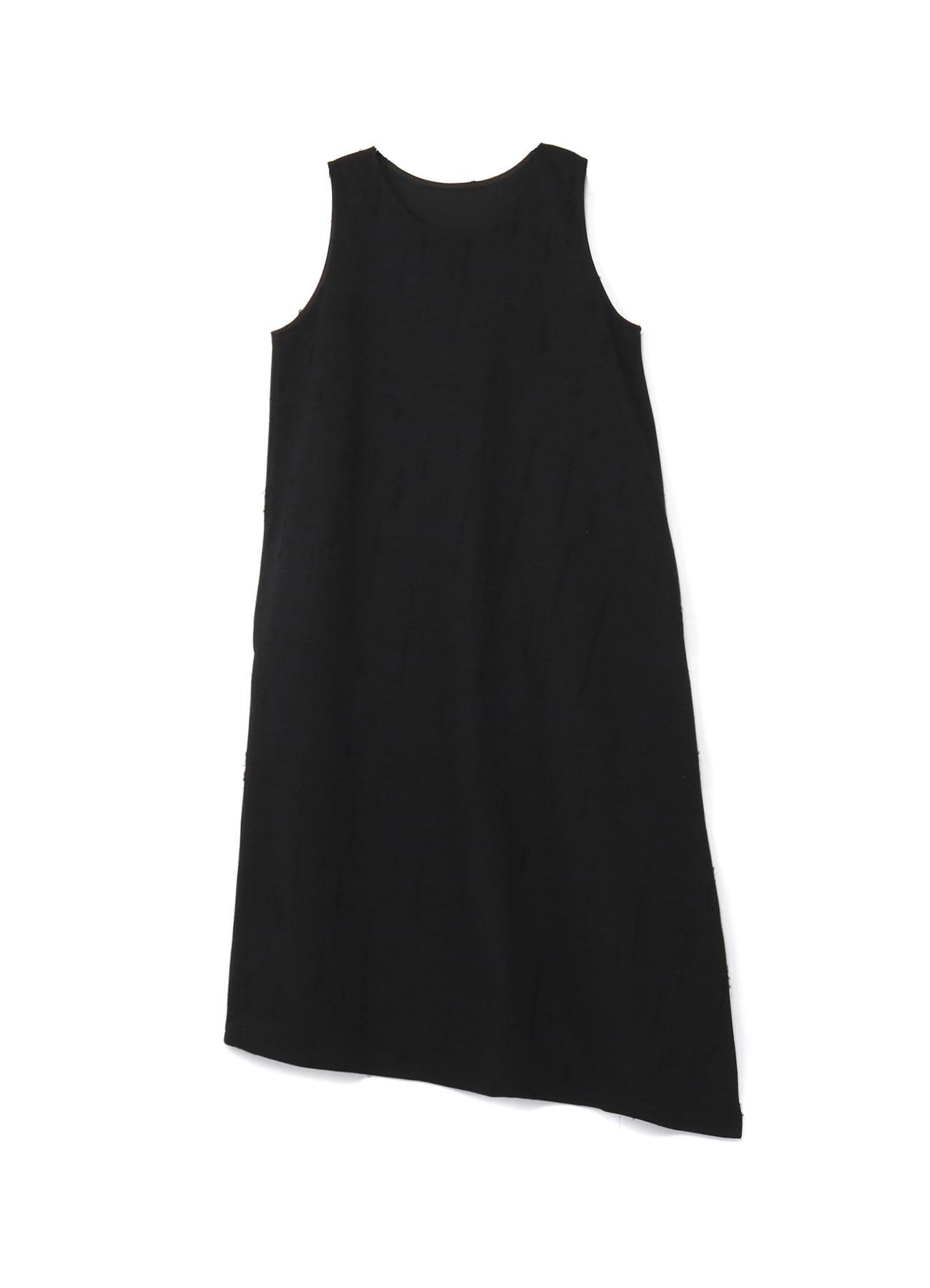 HOLED JACQUARD LEFT FLARE SLEEVELESS DRESS