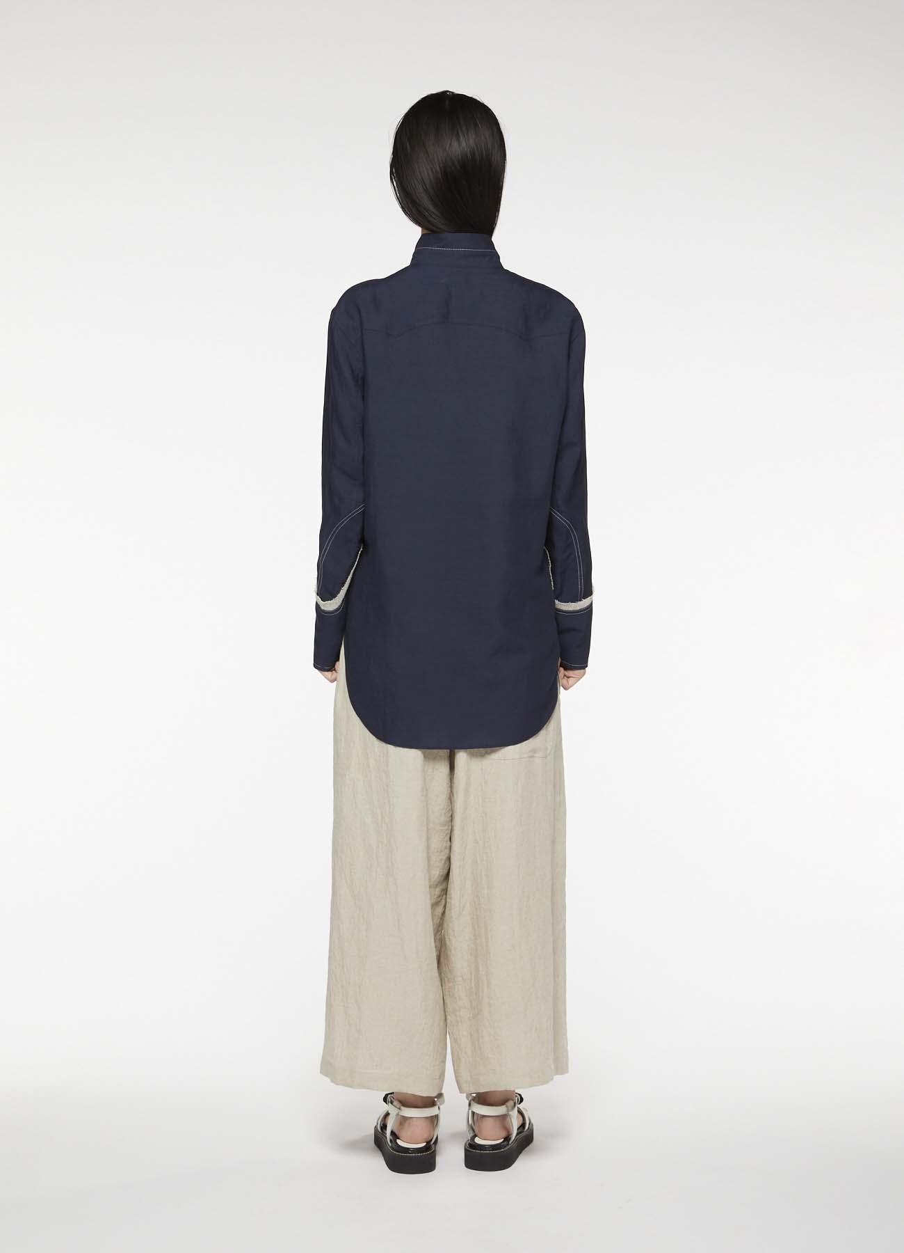 天丝针脚装饰军用风格立领衬衫