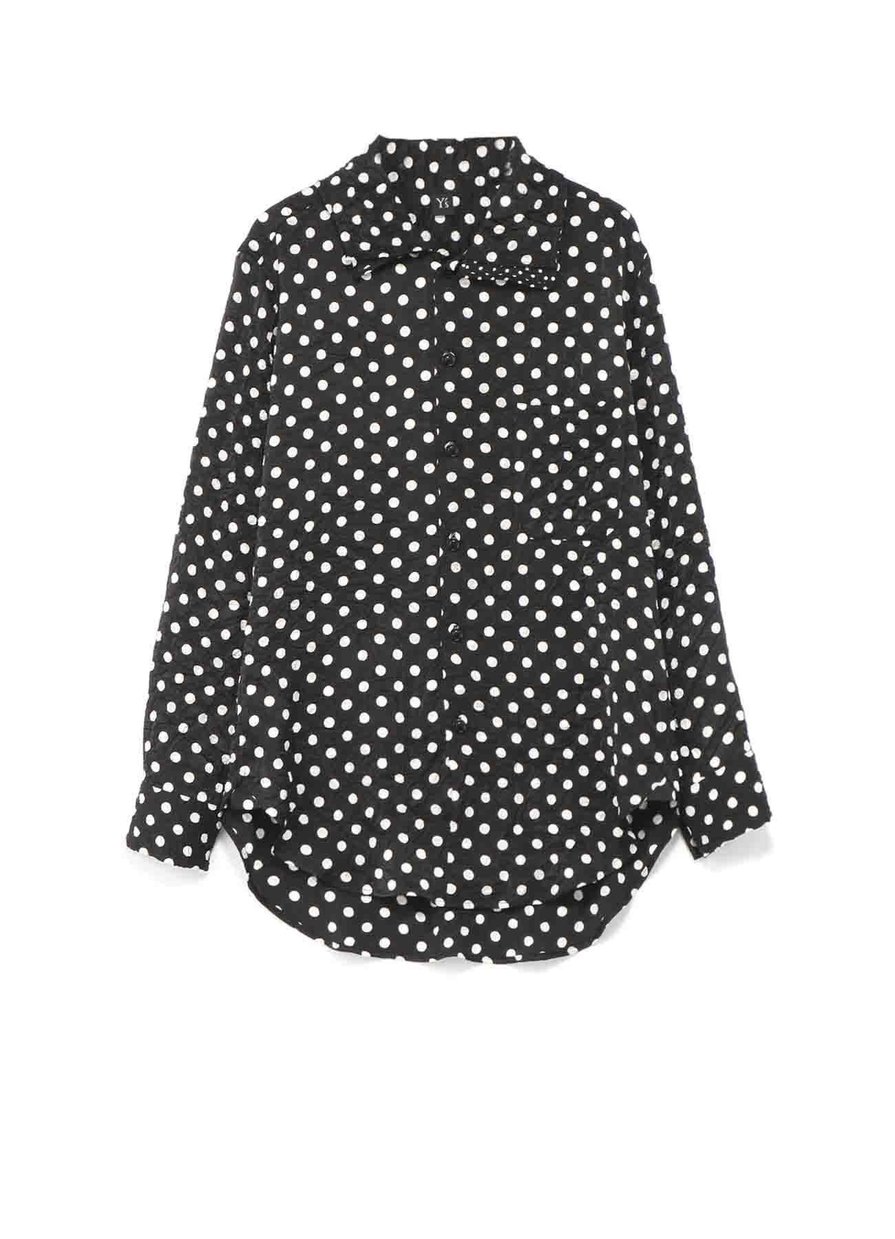 聚酯圆点缎面皱褶分层领衬衫