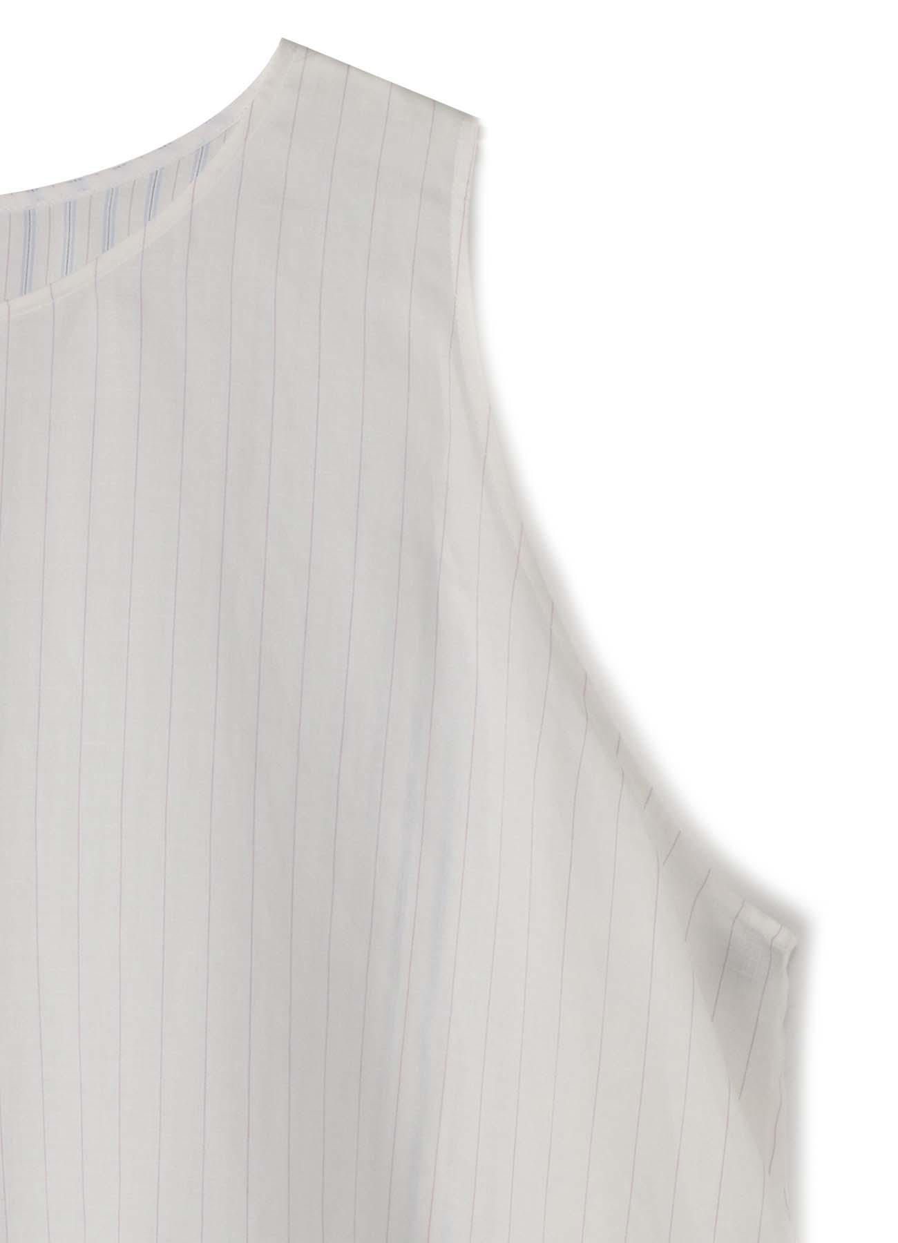 Rexel ie麻质感条纹右双无袖上衣