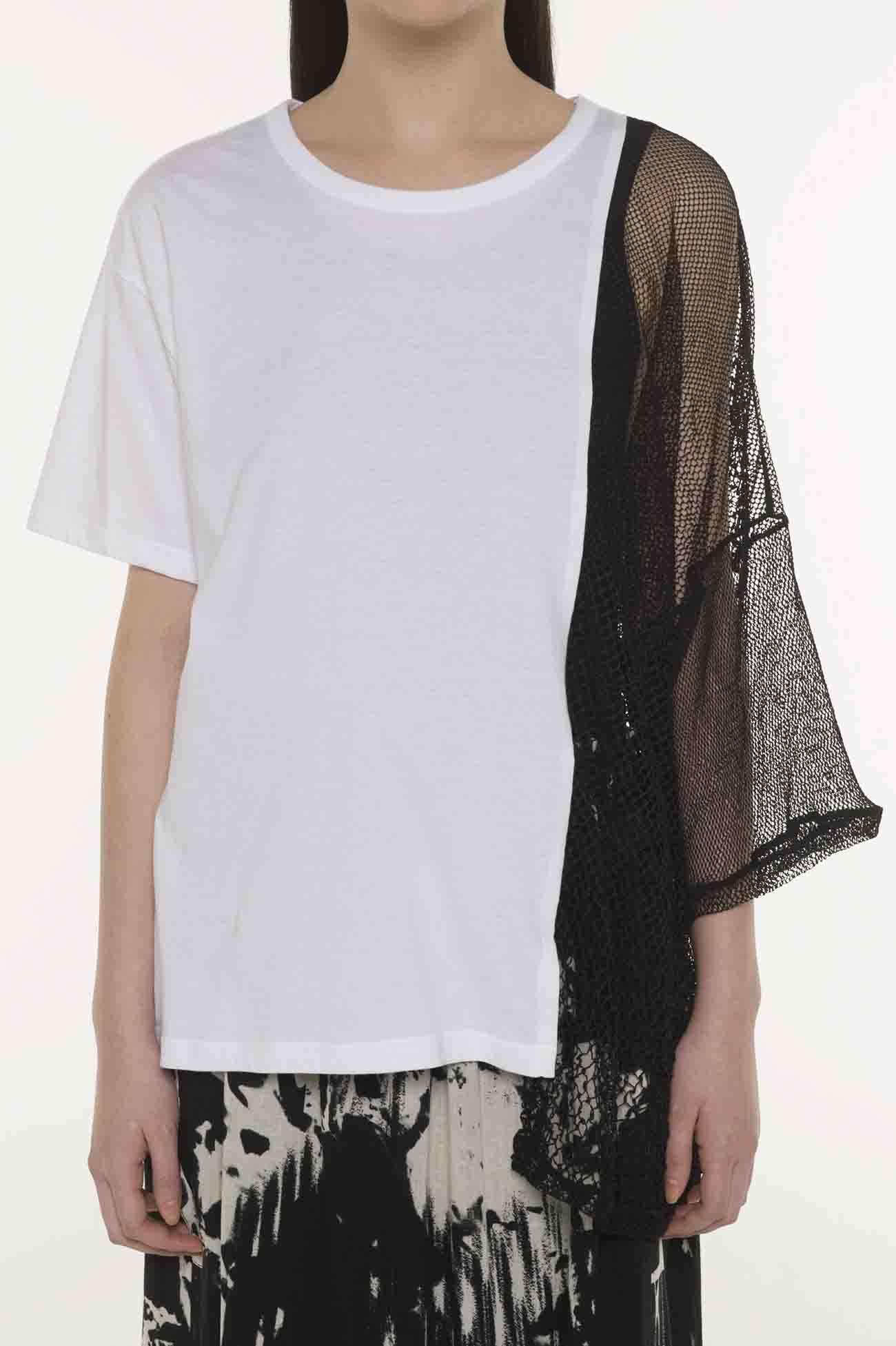蕾丝× 纯棉 拼接不对称设计上衣