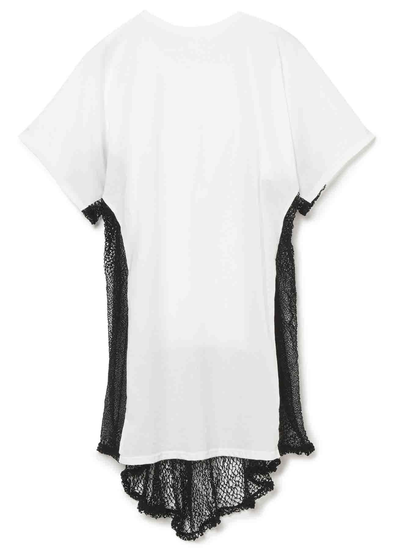 棉牛仔布x聚酯随机蕾丝短袖上衣