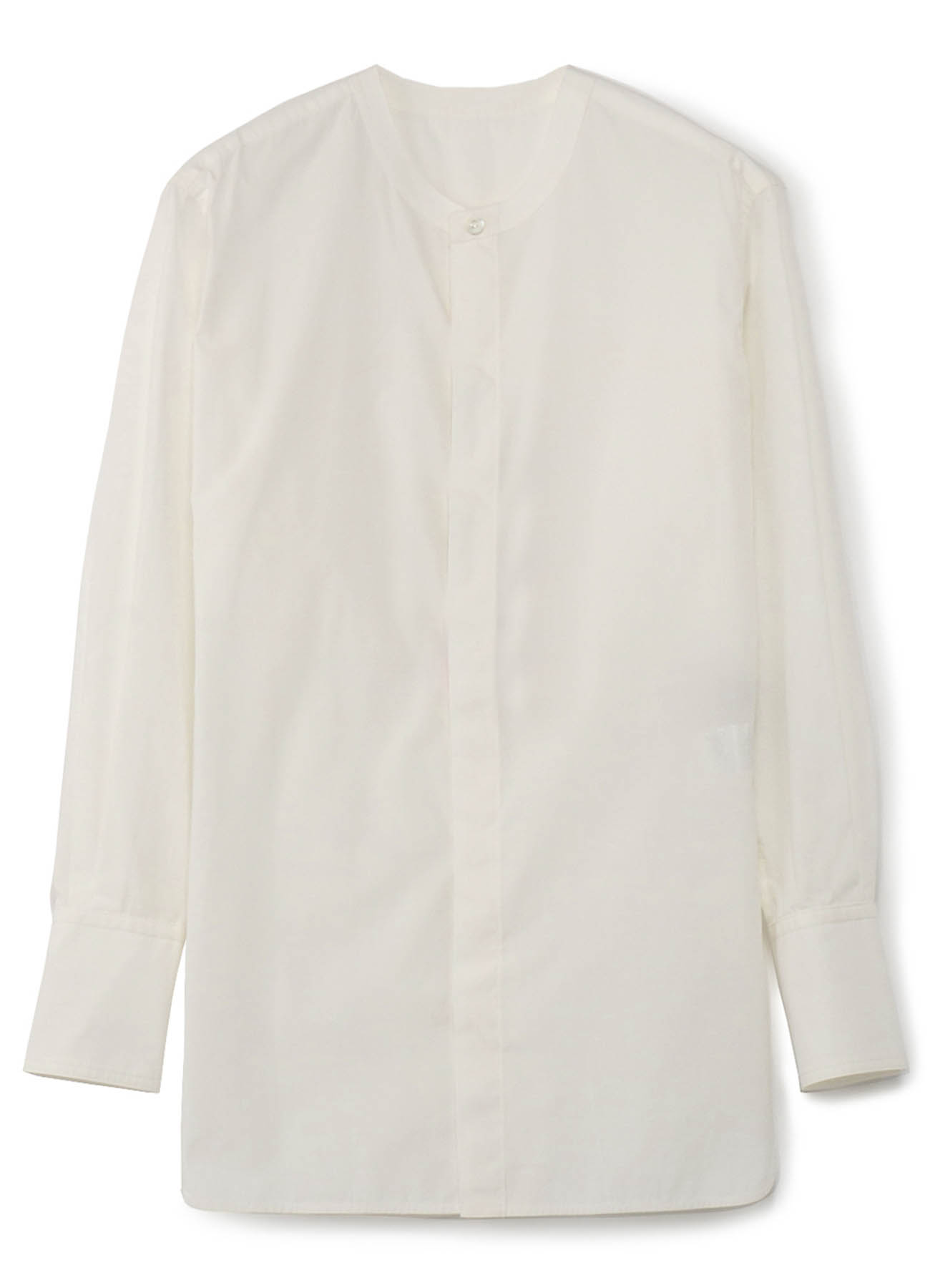 棉丝府绸无领衬衫