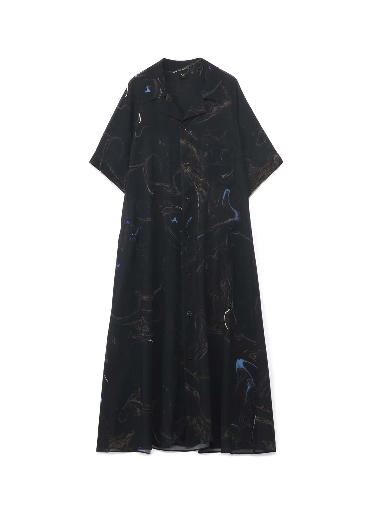 キュプラテンセルボイルマーブル柄プリント Aラインシャツドレス