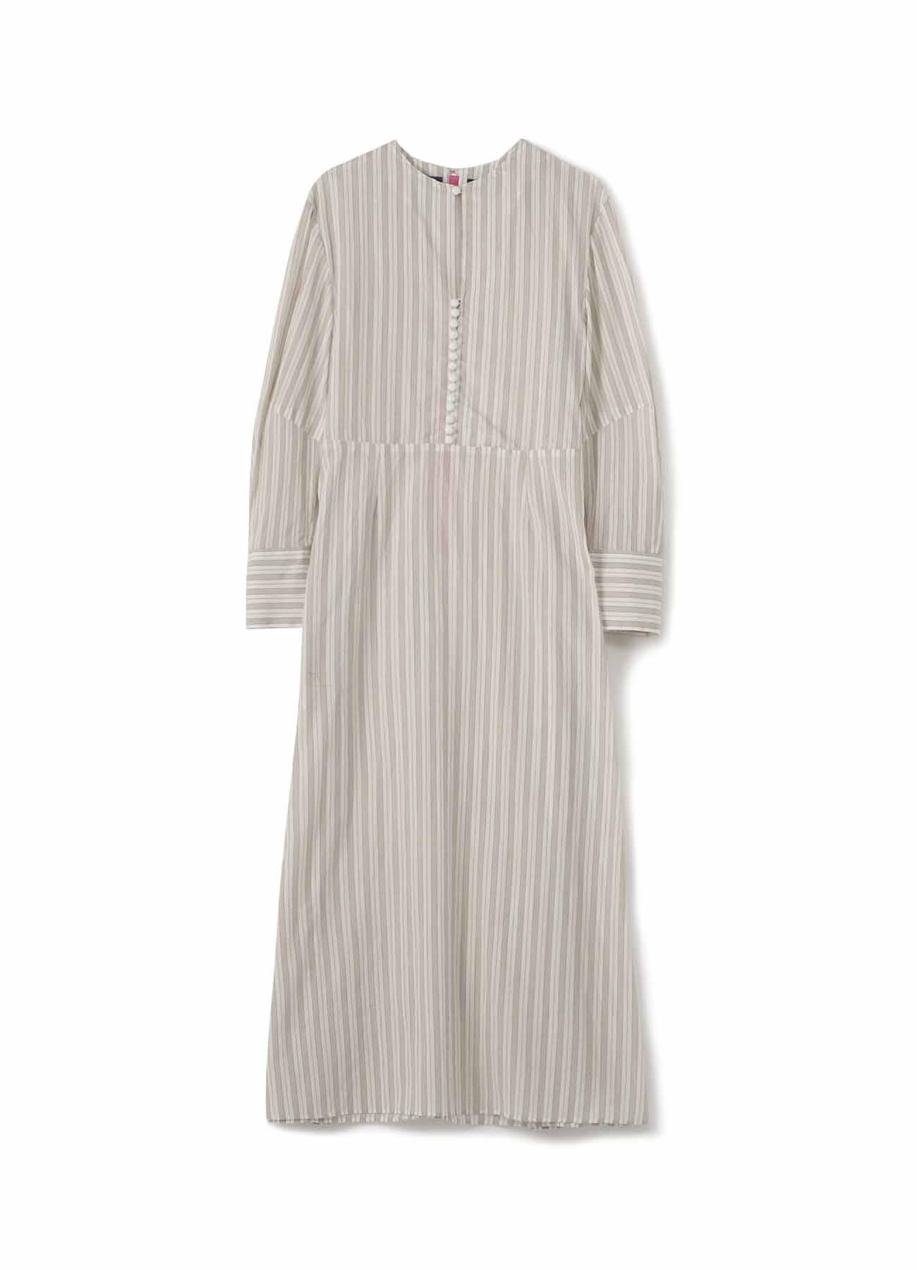 先染めムラネップツイル 球釦ドレス