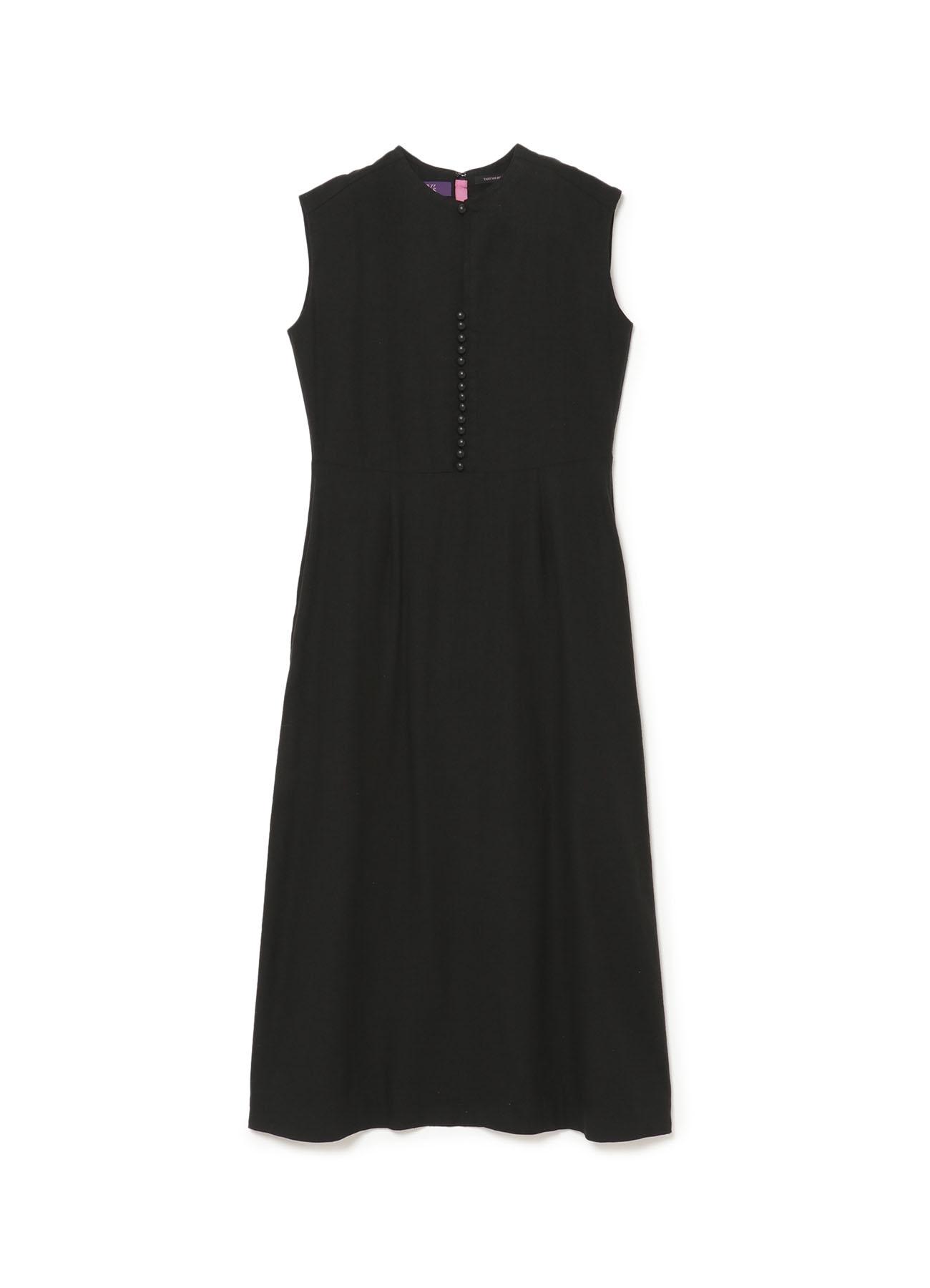 Shabby chic silk Linen Cloth 球釦ノースリーブドレス