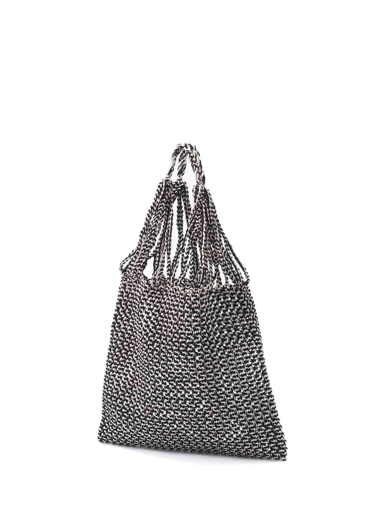 スパークポリエステル ハンドメイド編みトートバッグ