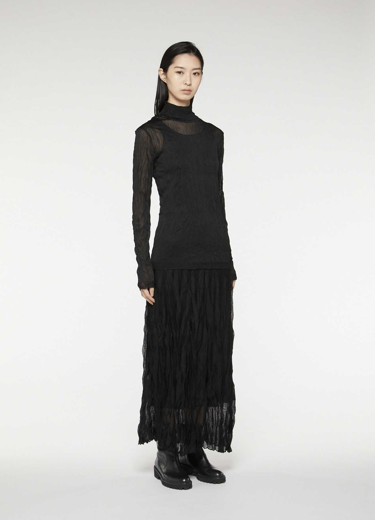 褶皱加工轻薄半身裙