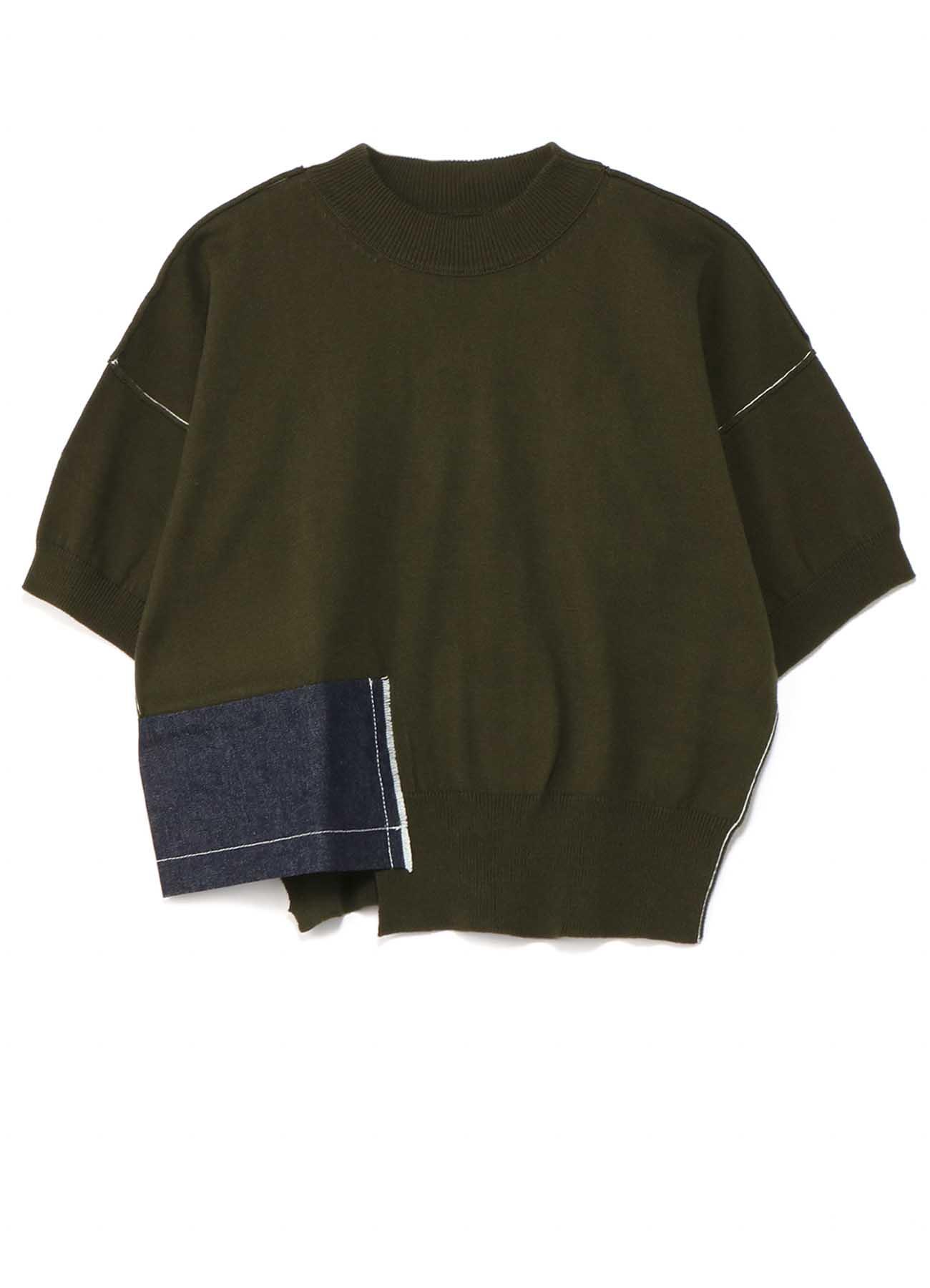 拉绒棉布x10oz牛仔短袖针织套衫