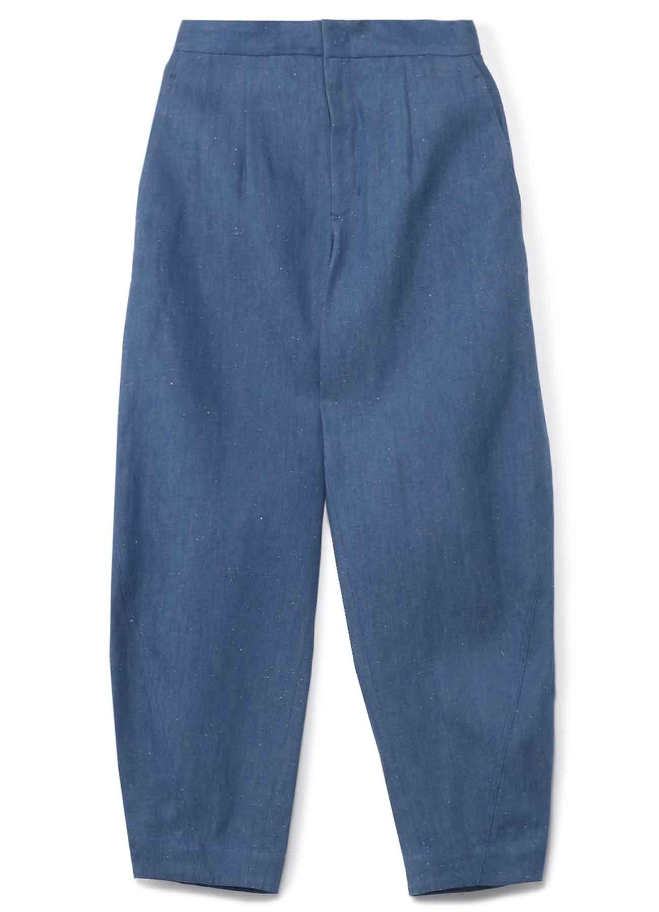 亚麻混纺茧型牛仔裤