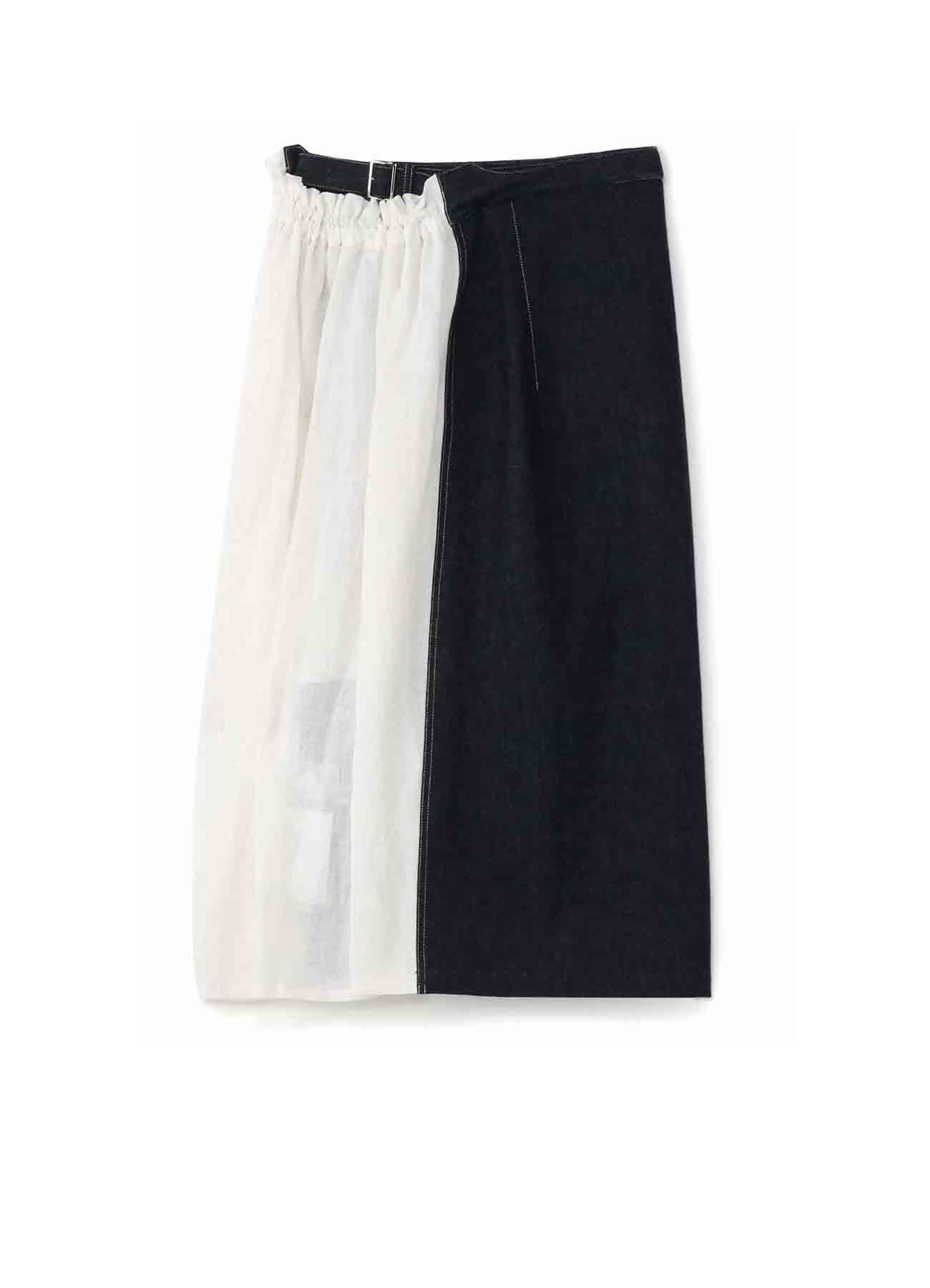 牛仔布x棉质 双重腰带半身裙