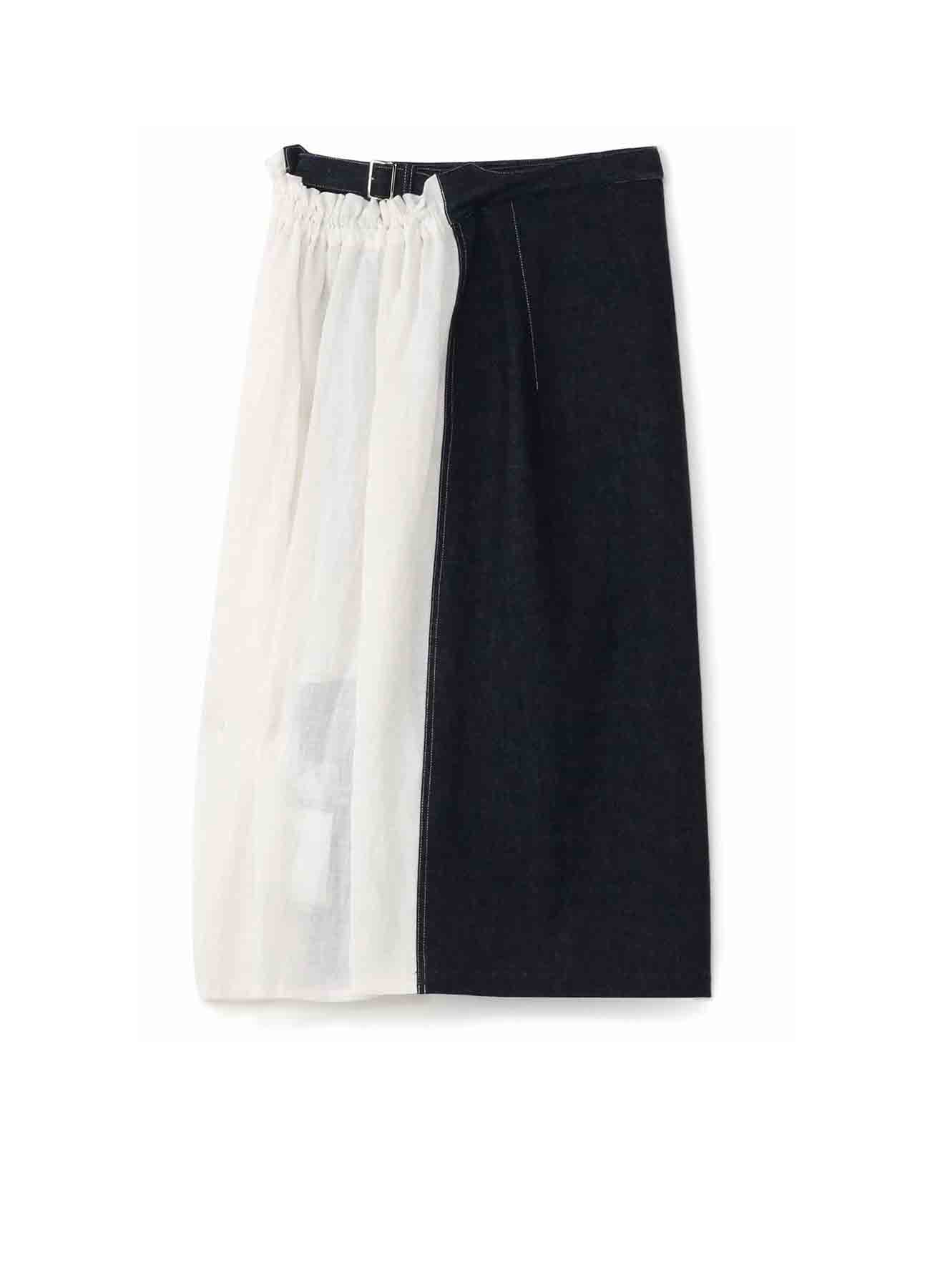 10ozデニムxコットン 二重ベルトスカート
