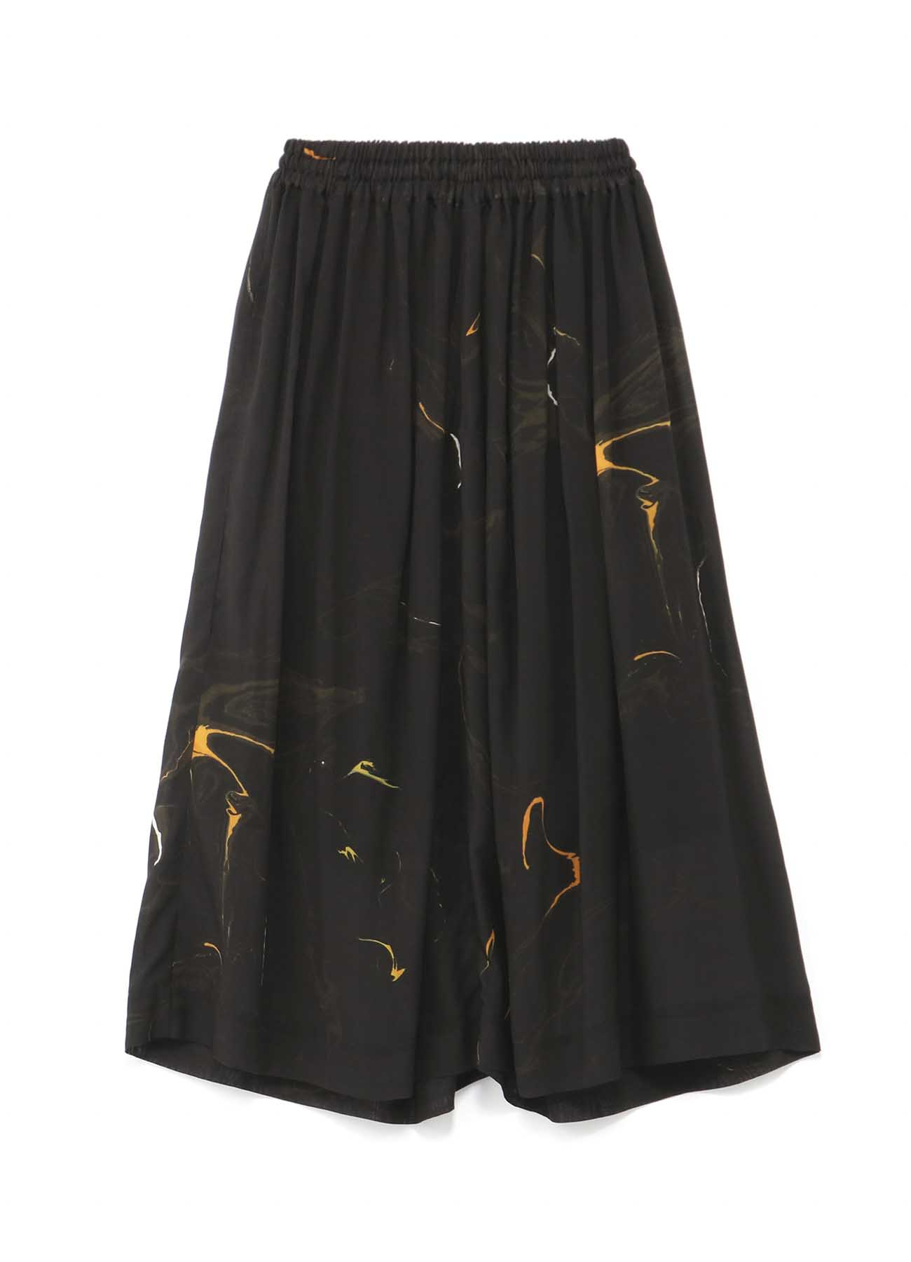 キュプラテンセルボイルマーブル柄プリント ギャザースカート