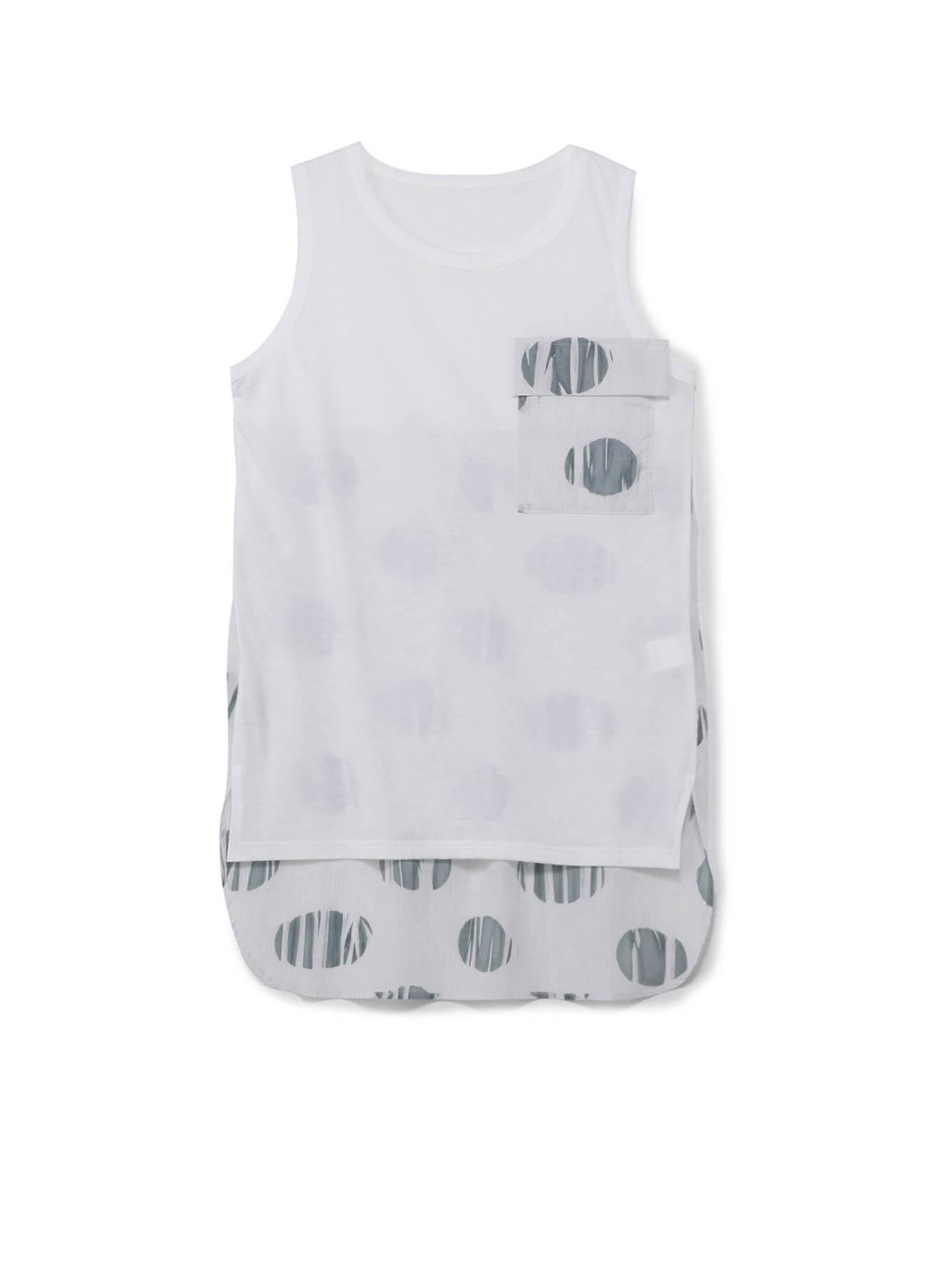 コットン天竺xストライプ絞り水玉プリント フラップポケットノースリーブTシャツ