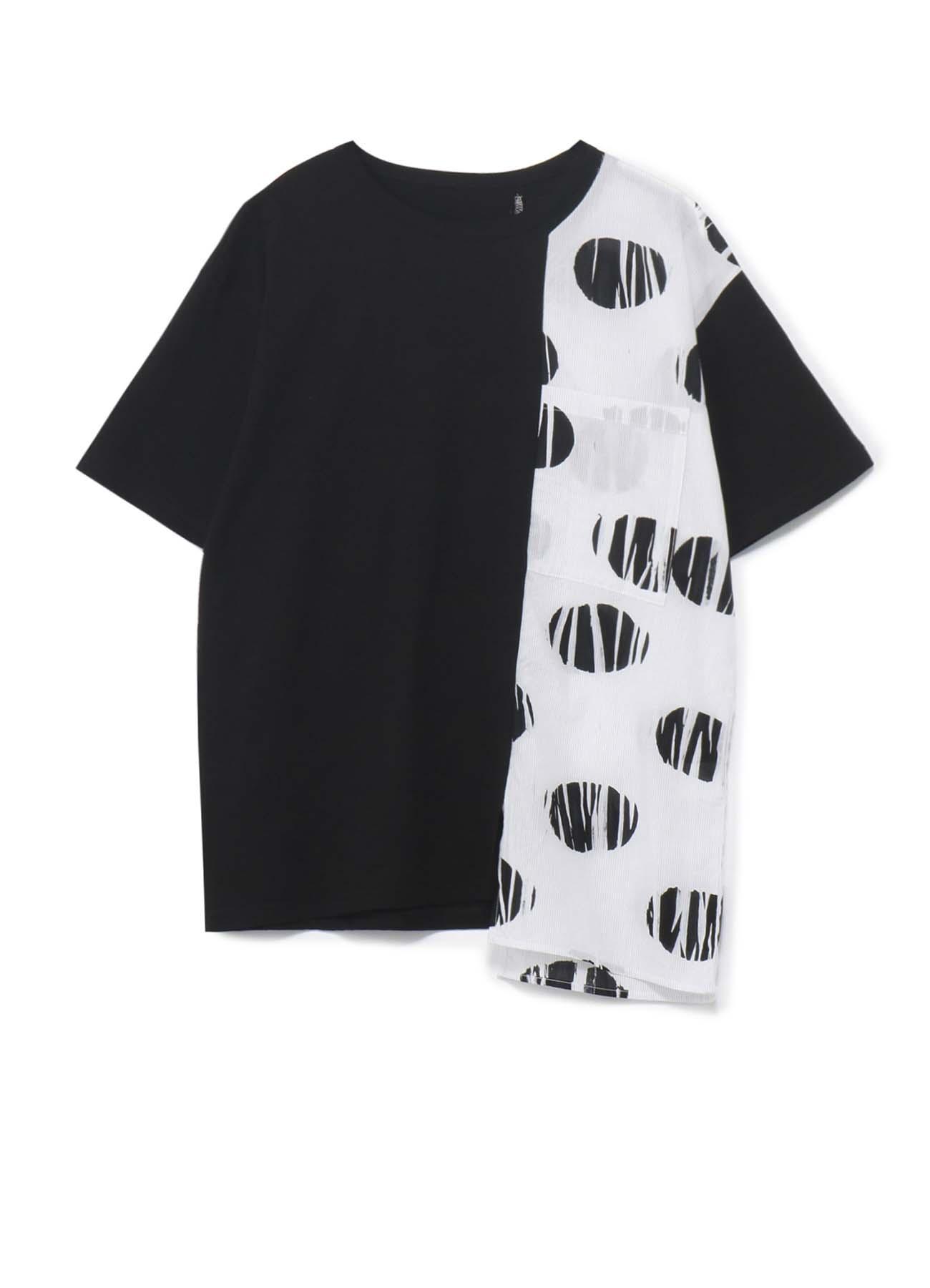 コットン天竺xストライプ絞り水玉プリント 組み合わせTシャツ