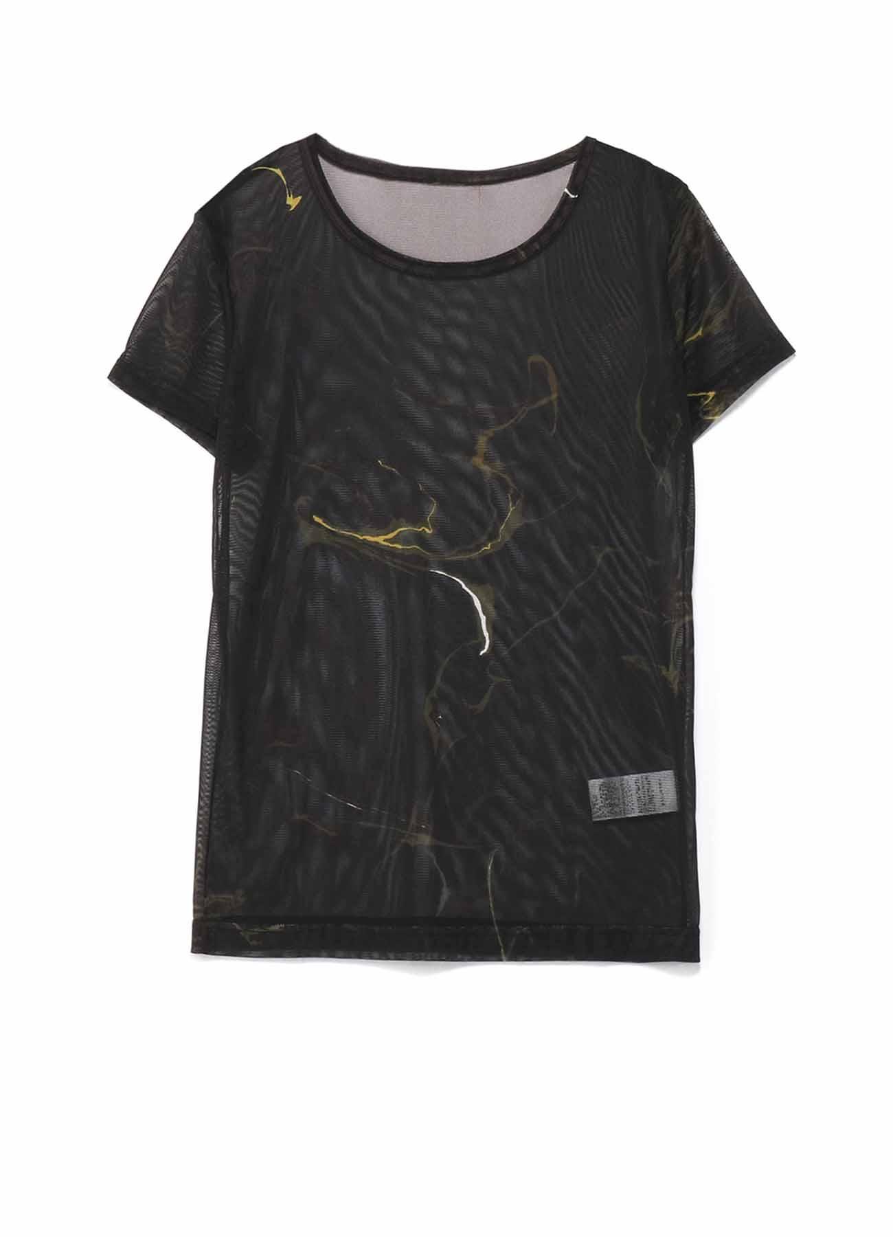 ポリエステルチュール墨流インクジェットプリント 半袖Tシャツ