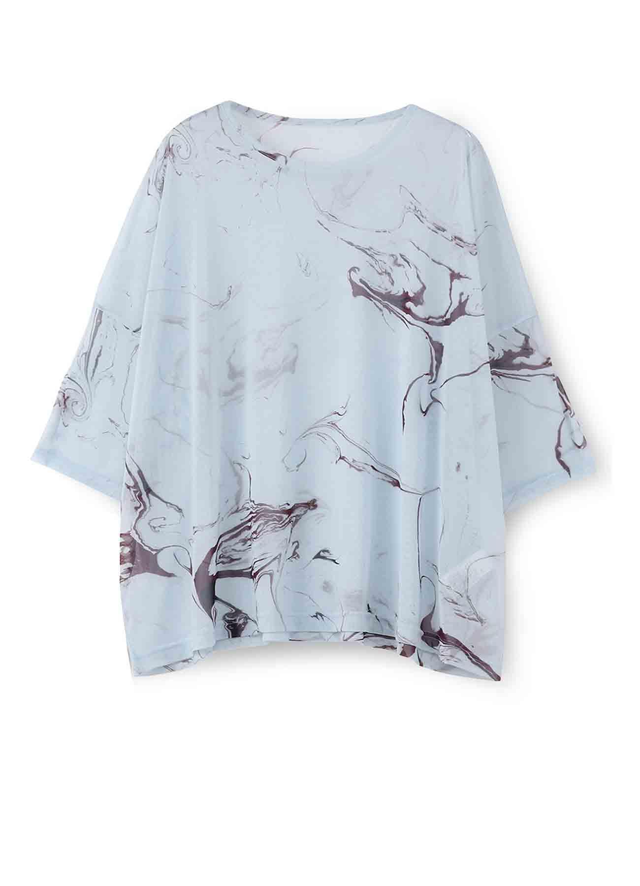 ポリエステルチュール墨流インクジェットプリント BIG Tシャツ
