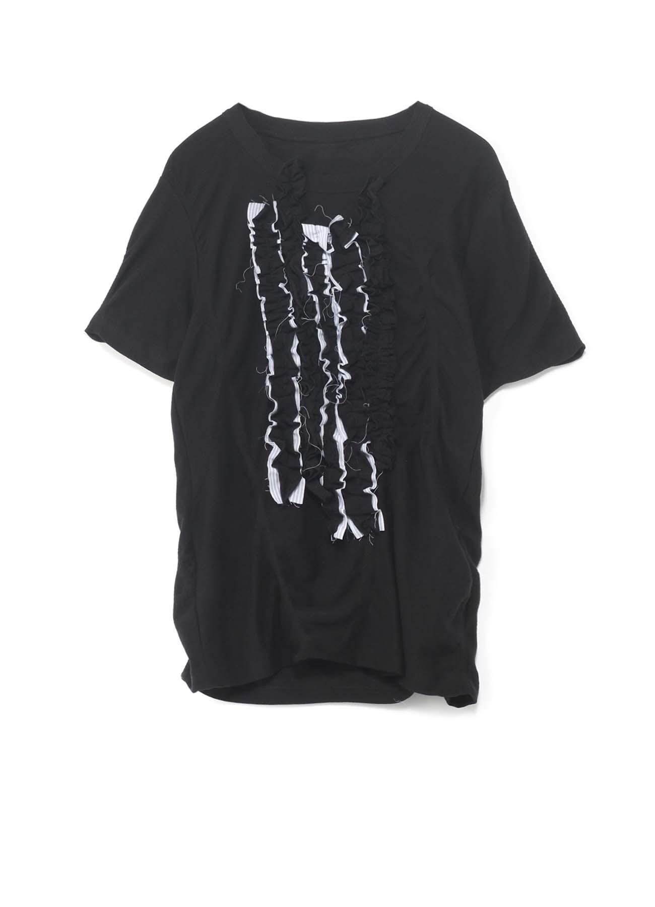 コットンタックジャガード フリル飾り付きTシャツ