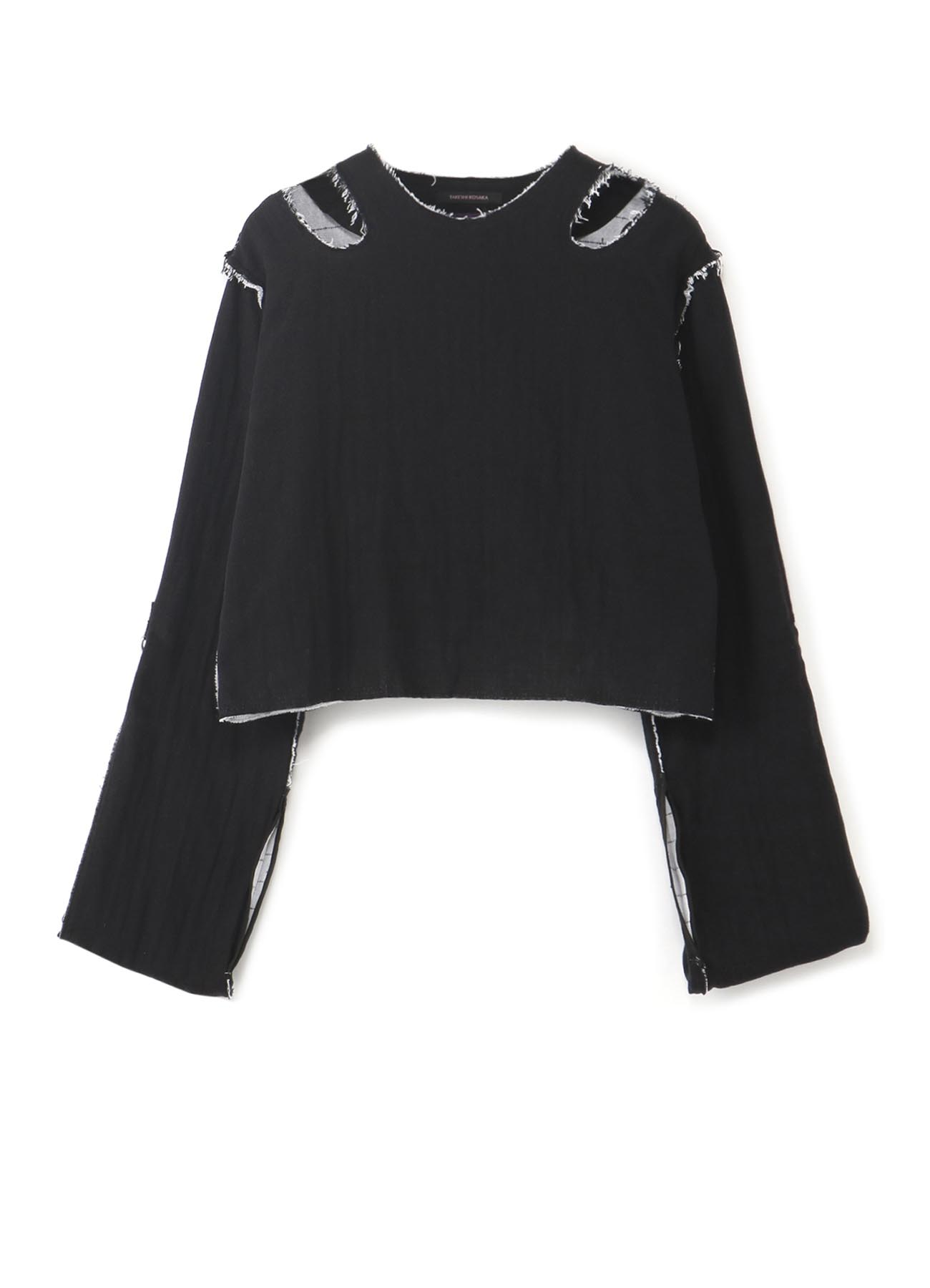 Y's PINK双层纱布肩部开口长袖T恤