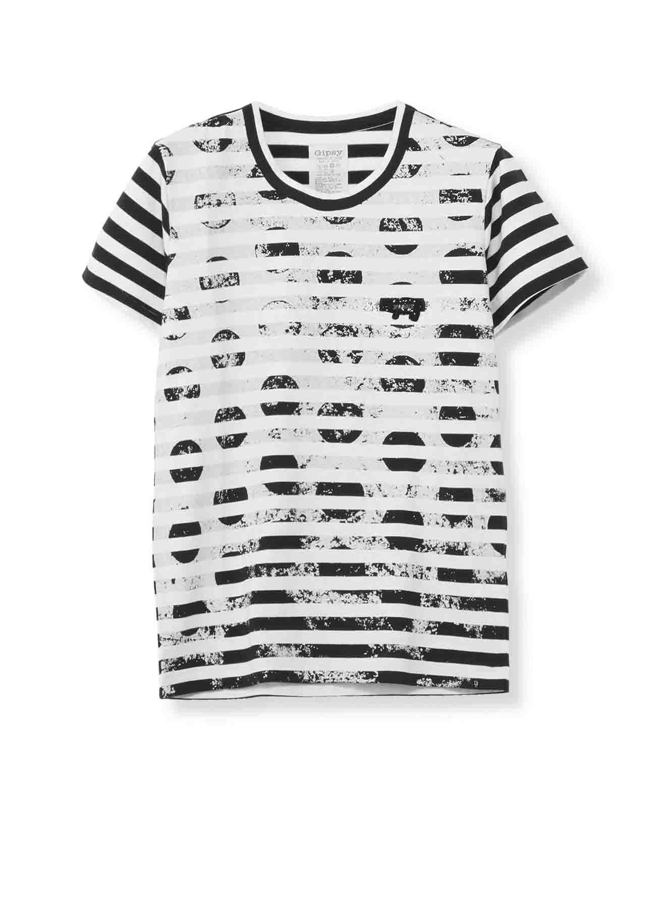 Gipsy ボーダー天竺擦れ水玉顔料プリント 丸首半袖Tシャツ