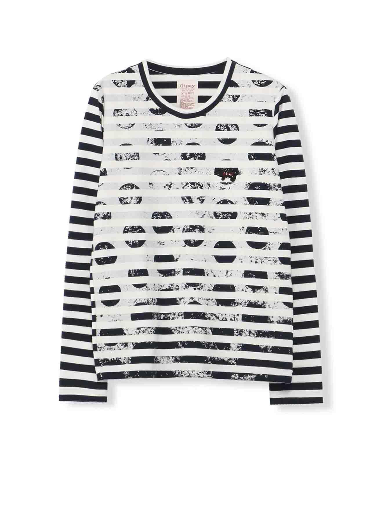 Gipsy ボーダー天竺擦れ水玉顔料プリント 丸首長袖Tシャツ