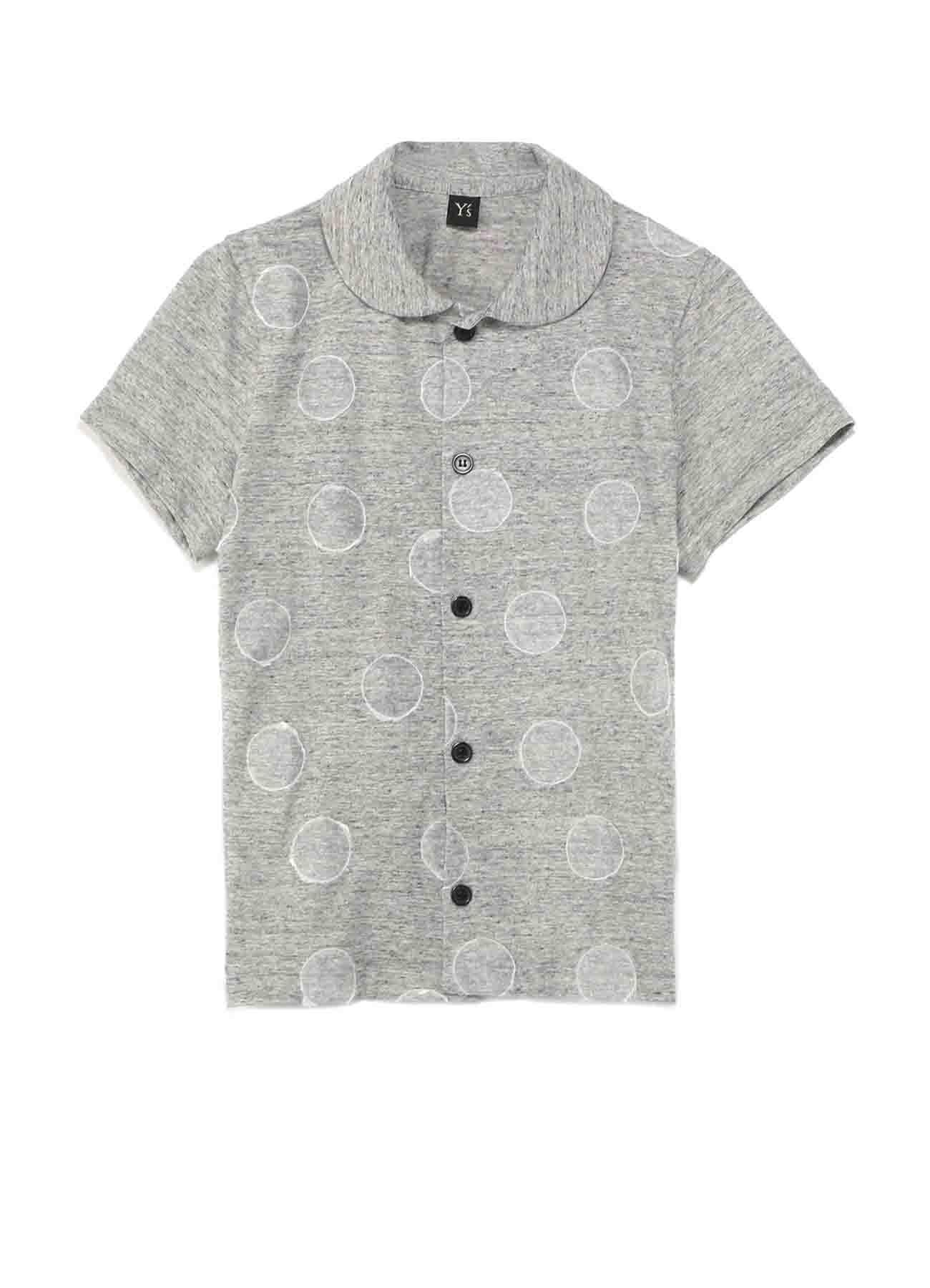 コットン天竺和紙水玉プリント 丸襟半袖Tシャツ