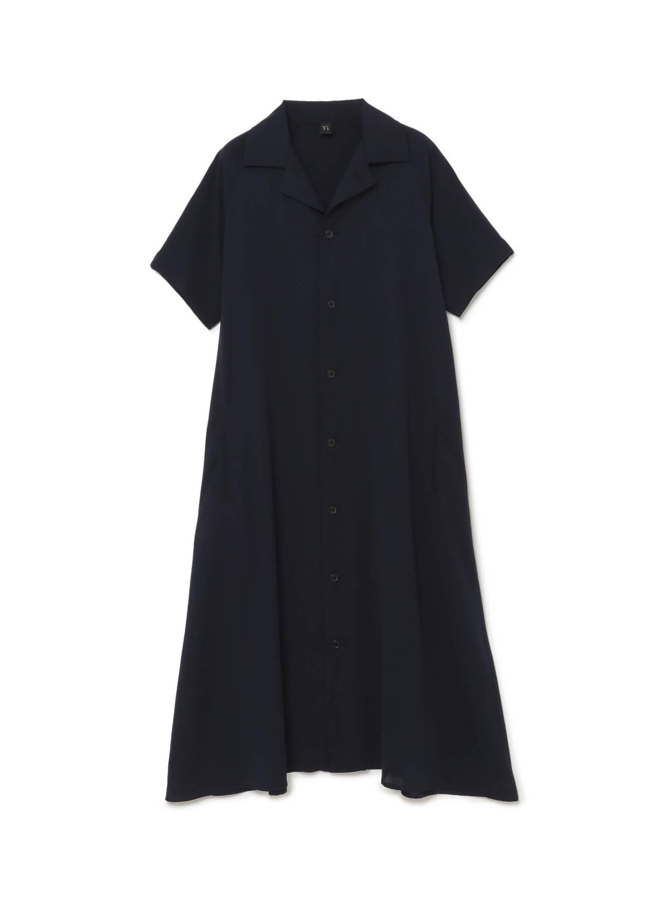トリアセテート×ポリエステル 半袖シャツドレス