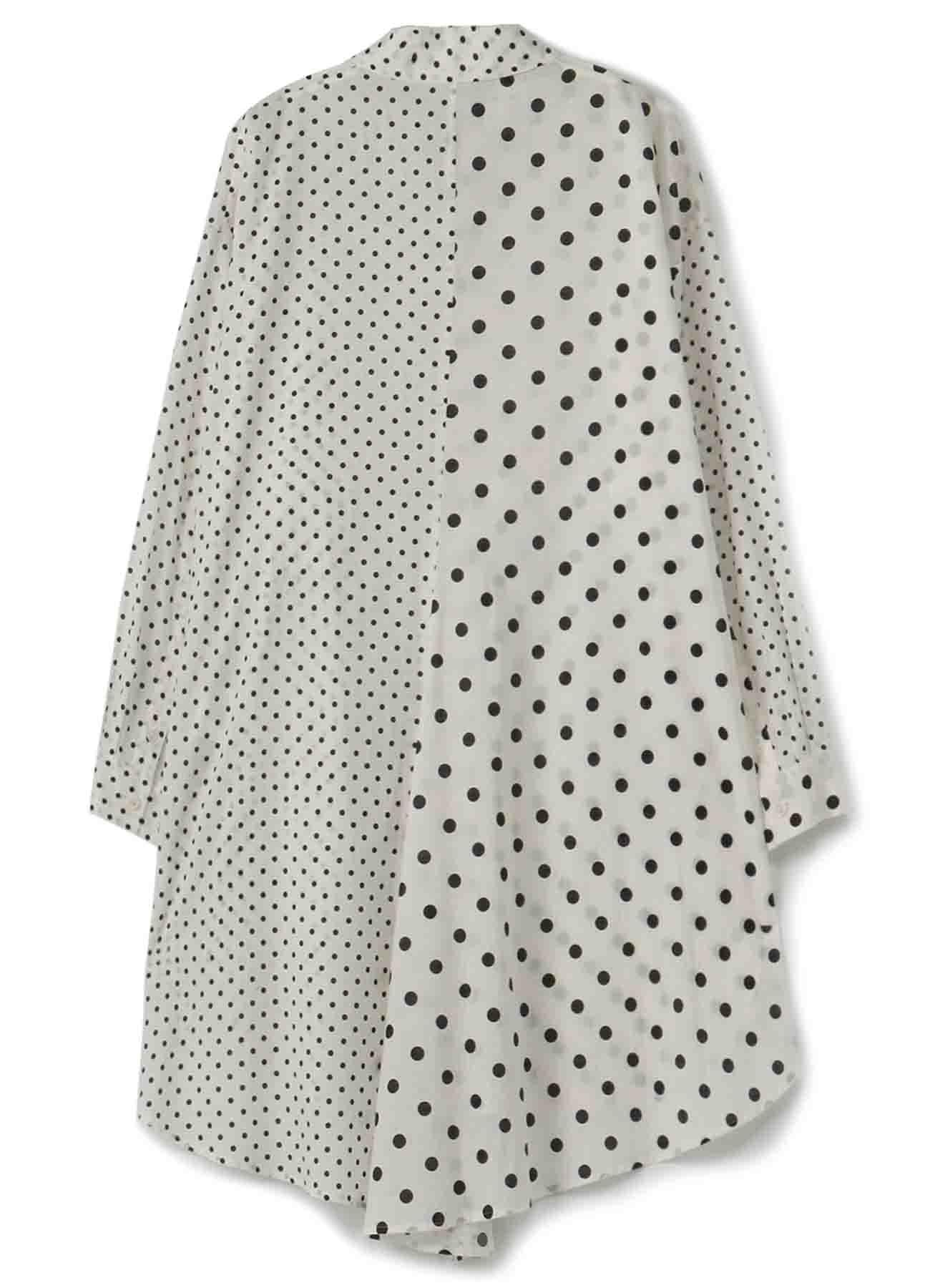 コットンローン 水玉プリント シャツドレス