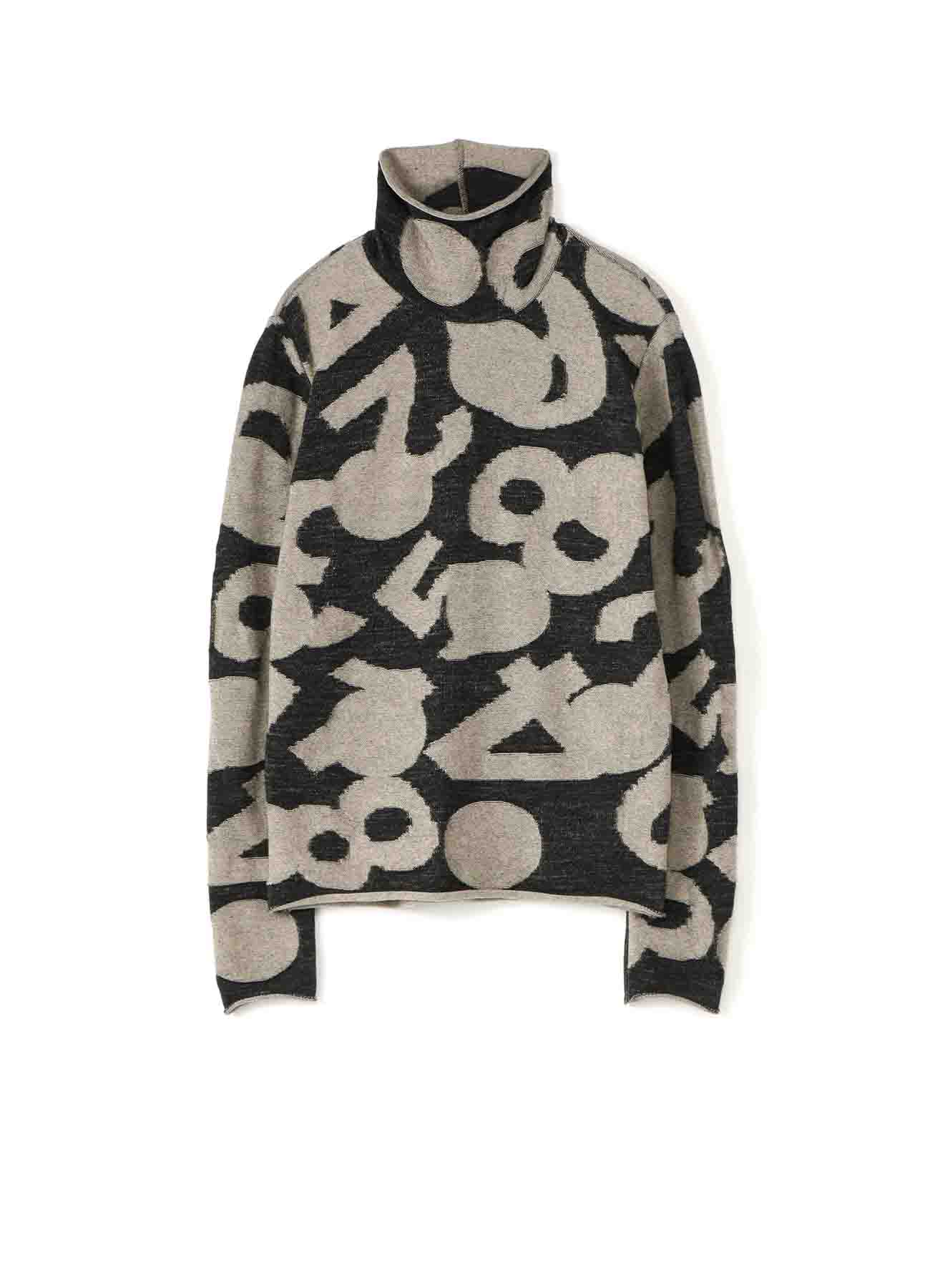 DOT NUMBER LINKS HIGHT NECK LONG SLEEVE PULLOVER
