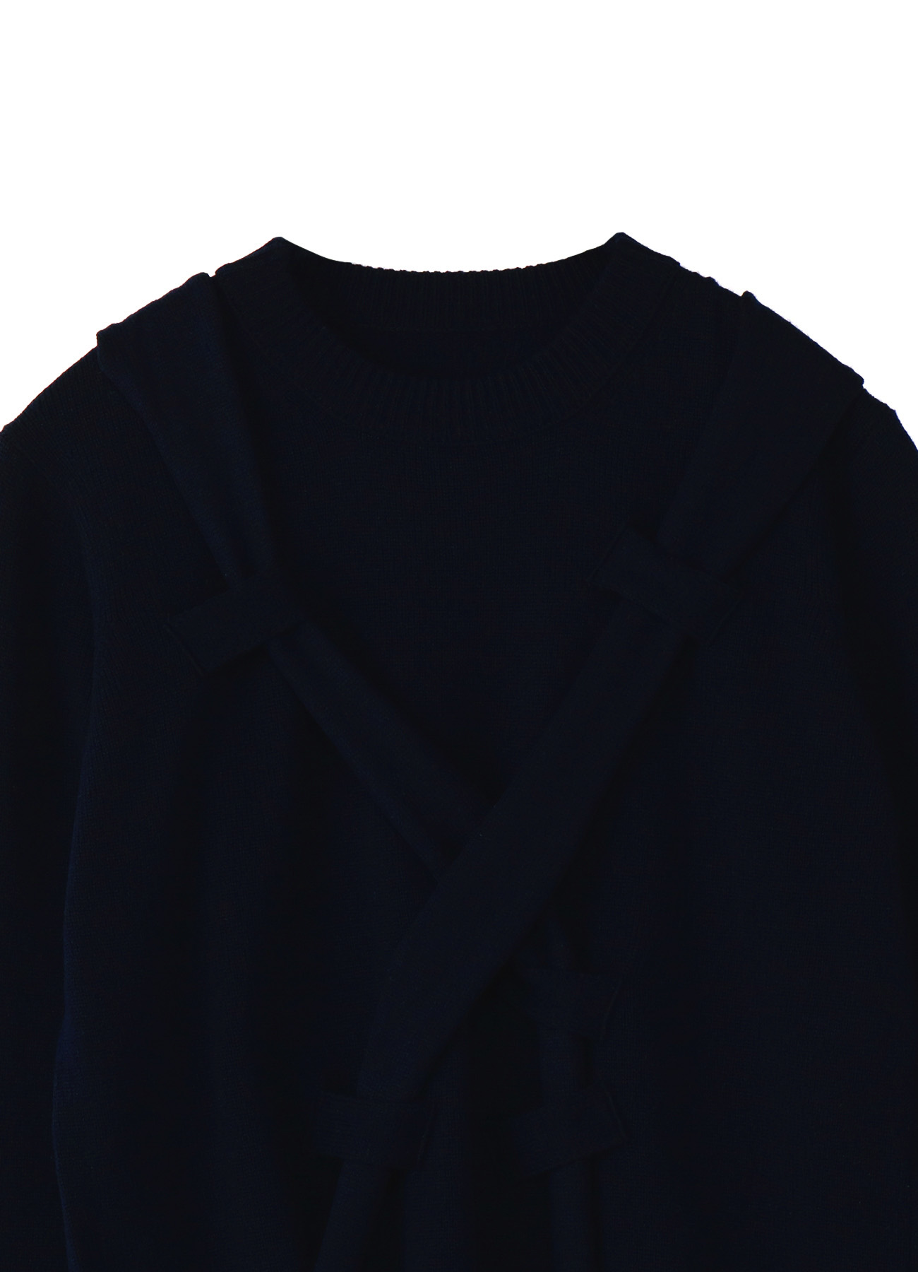 WOOL NYLON STRINGING CROSS PULLOVER