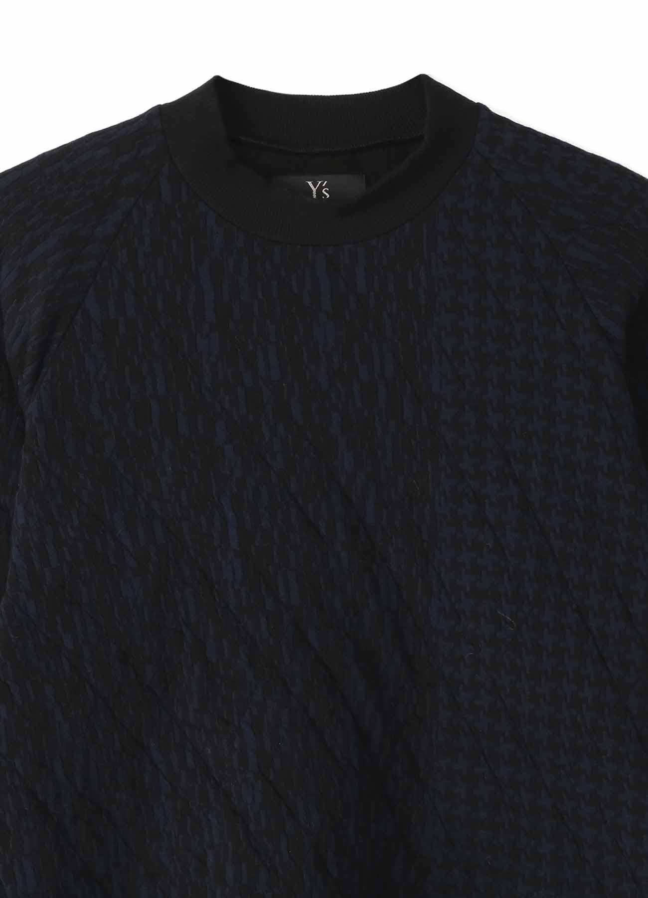 GEOMETRIC PATTERN QUILTING ROUND NECK PULLOVER