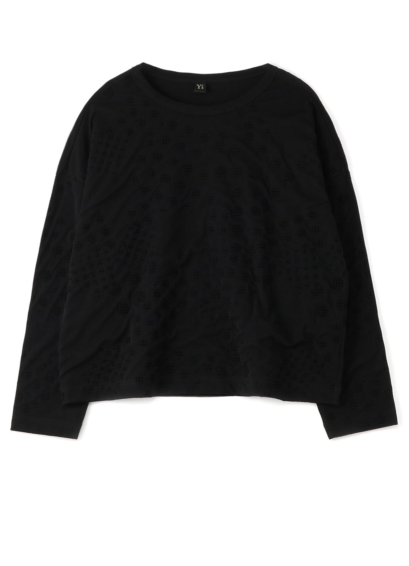 POLYESTER TULLE x COTTON HOUNDSTOOTH FLOCKY LONG SLEEVE T-SHIRT