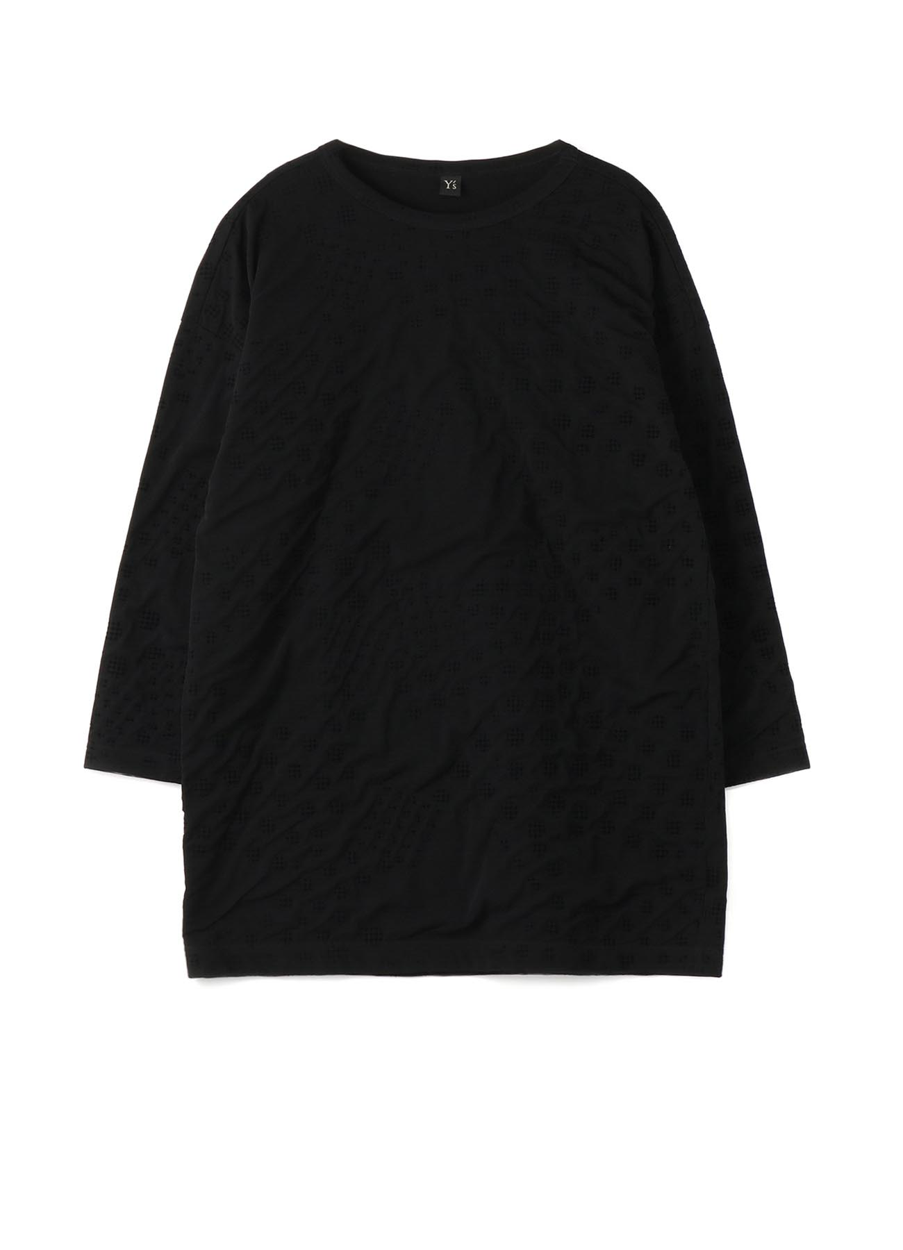 POLYESTER TULLE x COTTON HOUNDSTOOTH FLOCKY BIG T-SHIRT