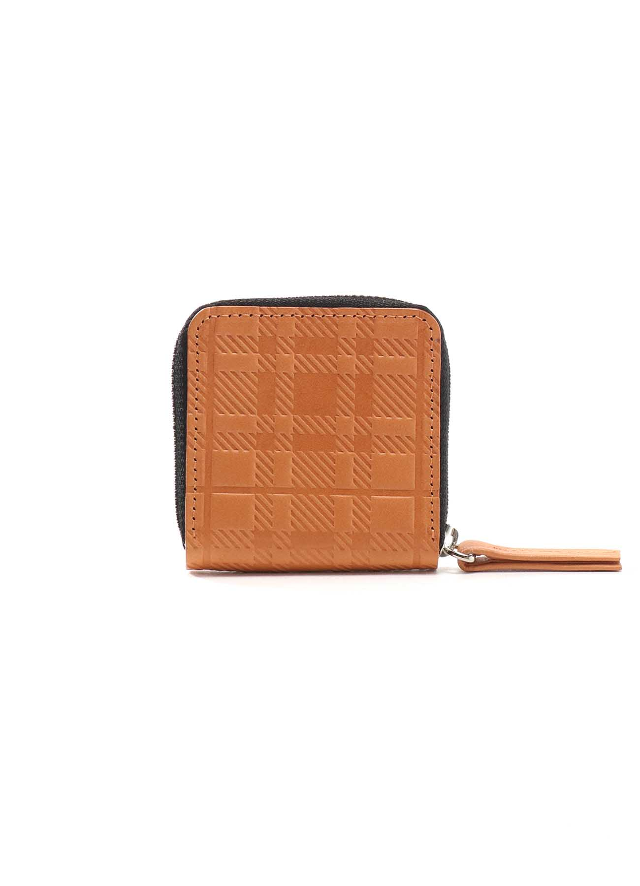 PLAID EMBOSS TANNED ROUND ZIP COIN CASE
