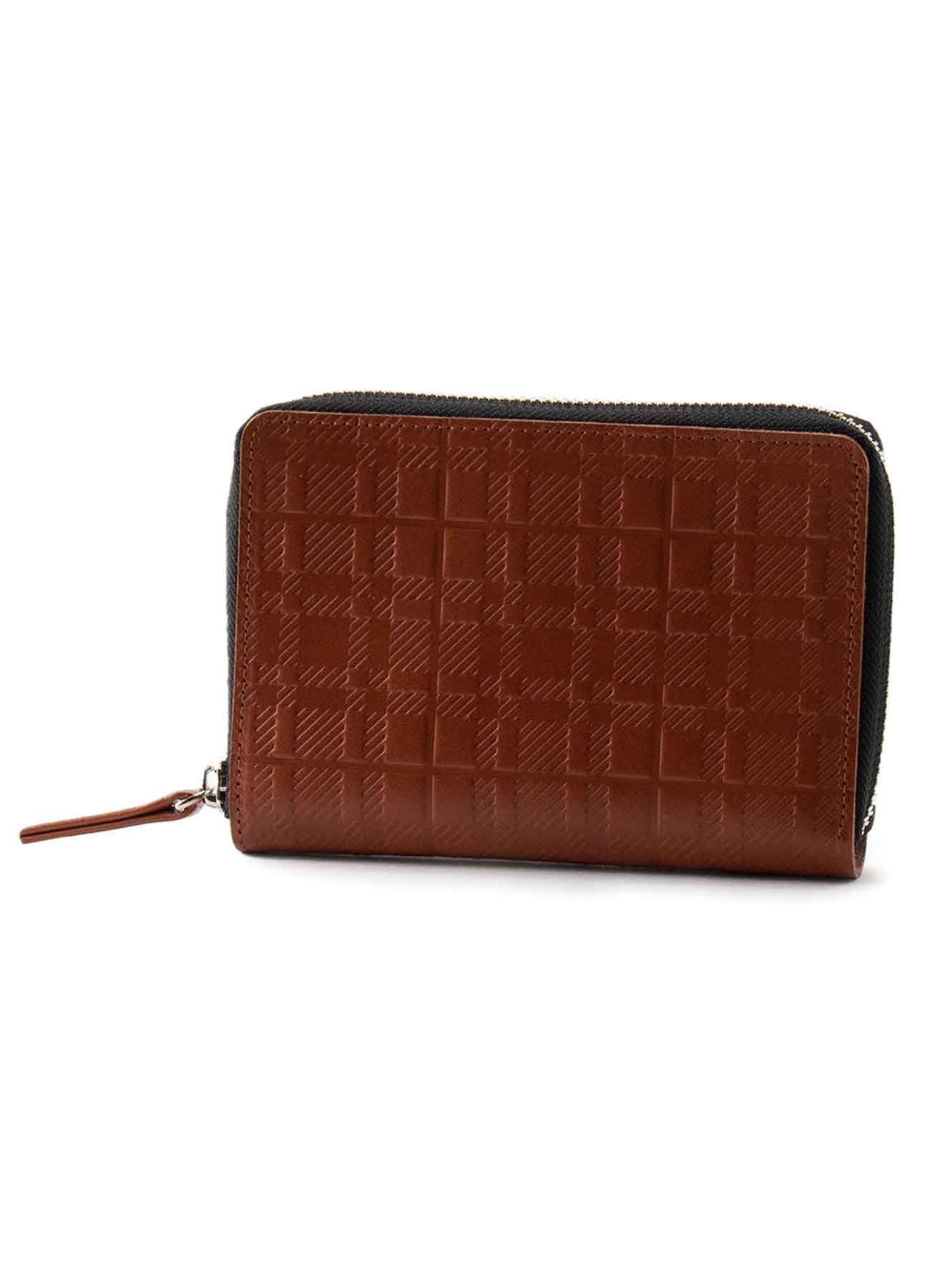 PLAID EMBOSS TANNED ROUND ZIP WALLET