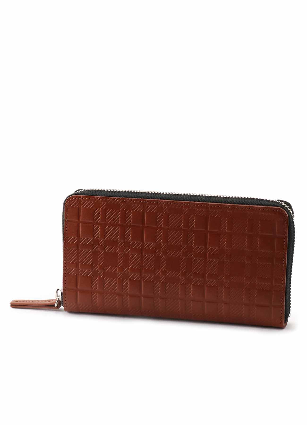 PLAID EMBOSS TANNED ROUND ZIP LONG WALLET