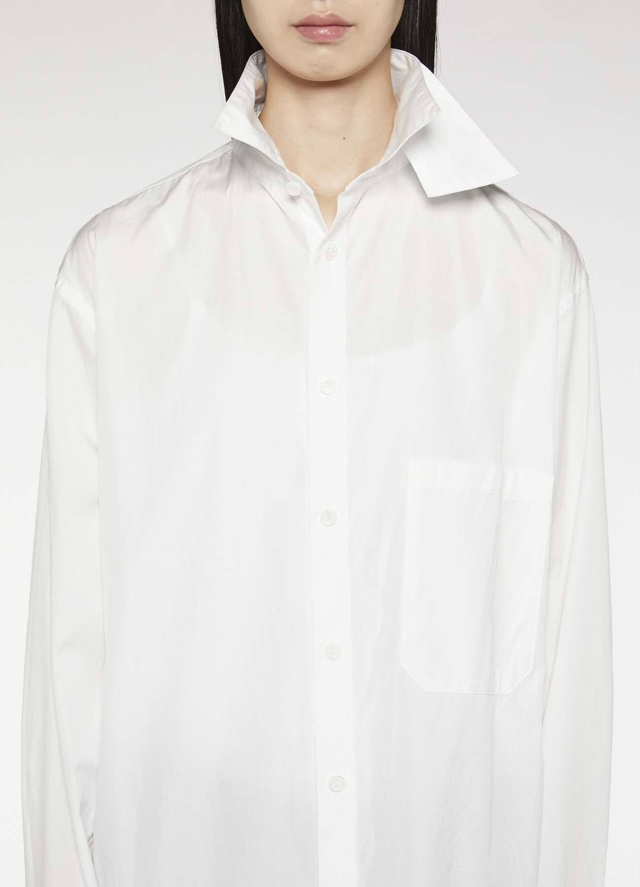 COTTON BROAD LEFT COLLAR LAYERED BLOUSE