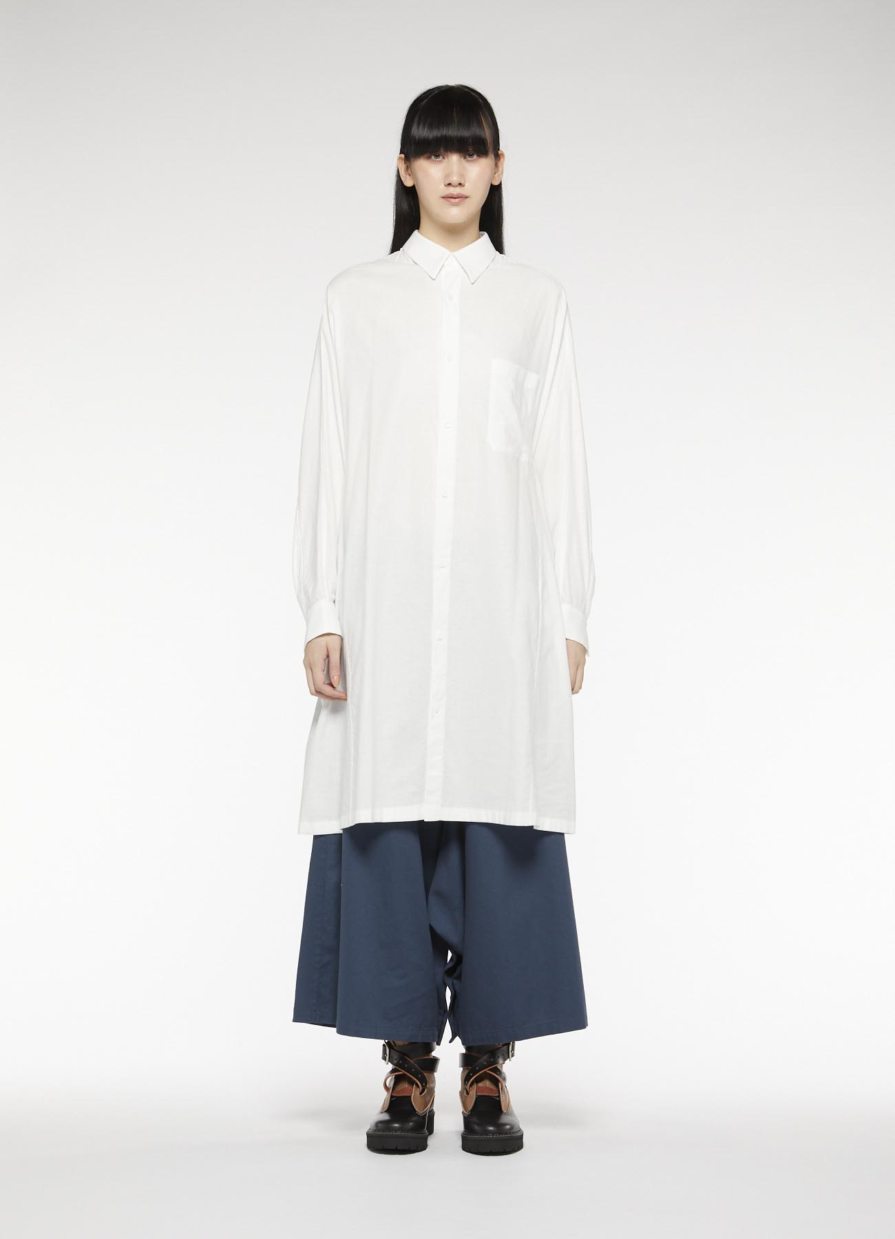 Y's-BORN PRODUCT BACK GATHER LONG SHIRT