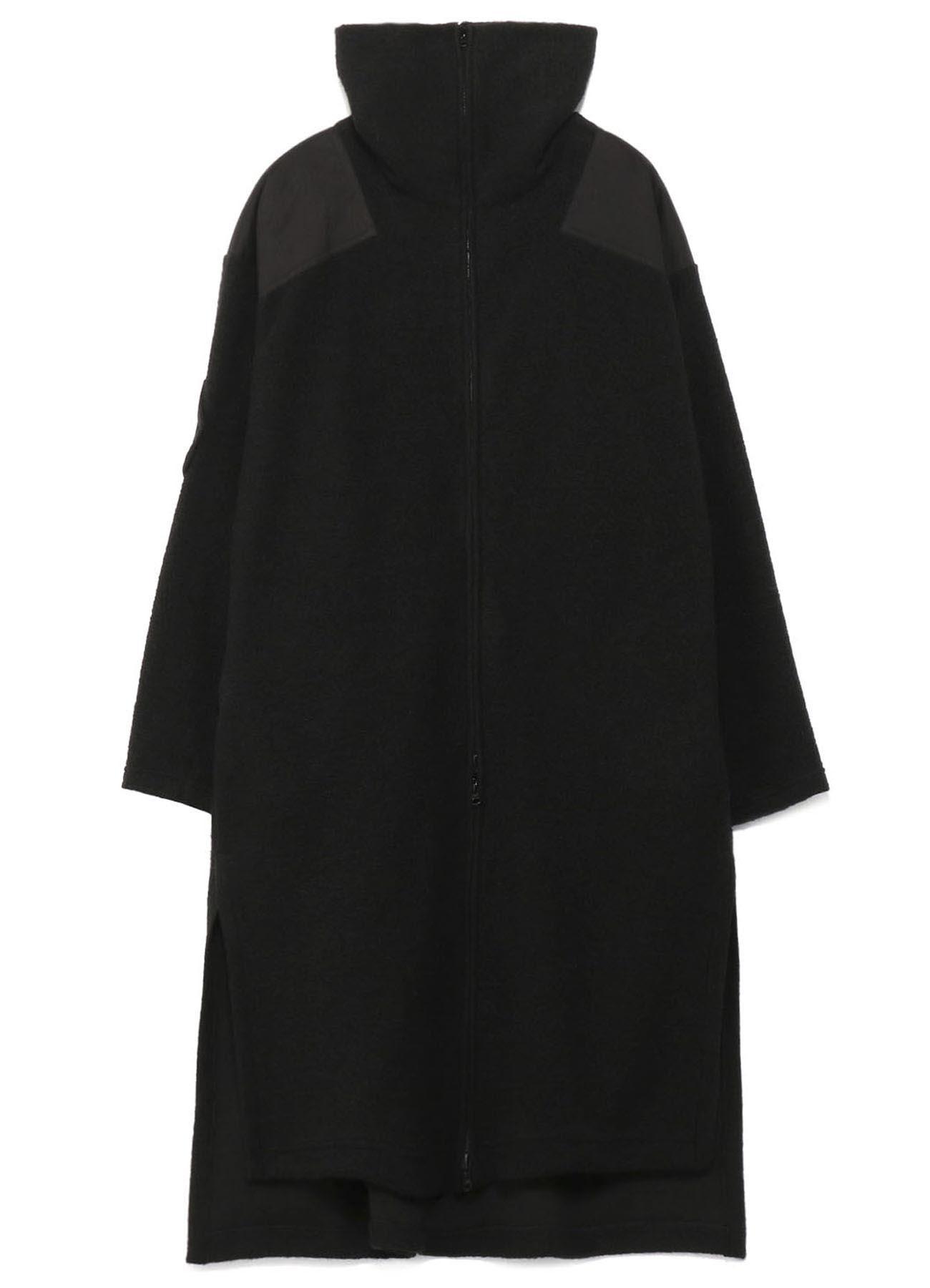 LIGHT MOLE SKIN x ITALIAN AIRY MOHAIR STAND COLLAR DRESS