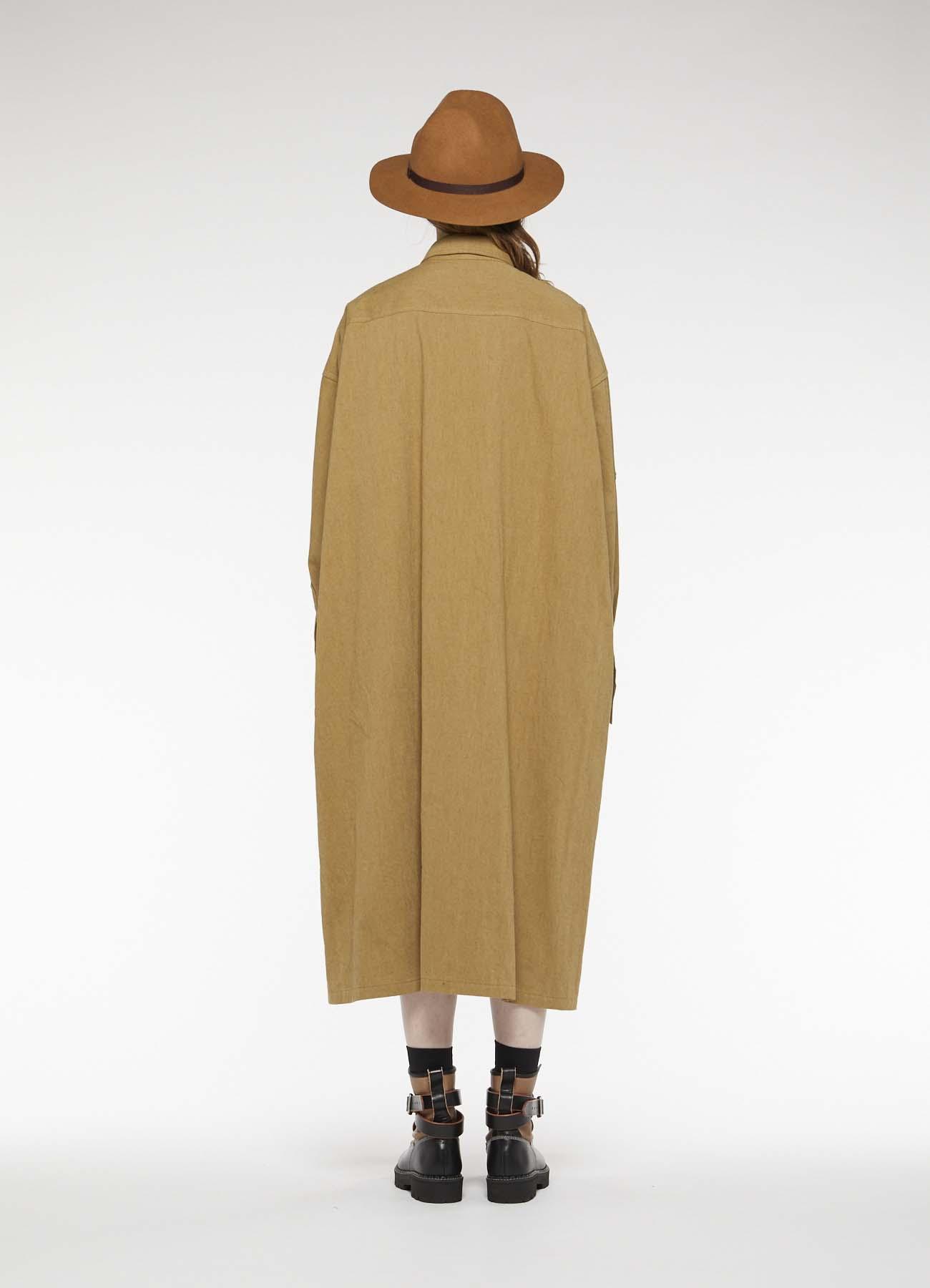 COTTON TWILL 2 CHEST POCKET SHIRT DRESS