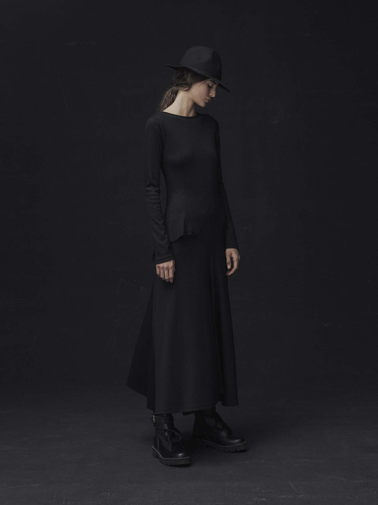 MICHIKObyY's WOOL CLEAR SMOOTH RIGHT CUT OFF LONG SLEEVE DRESS