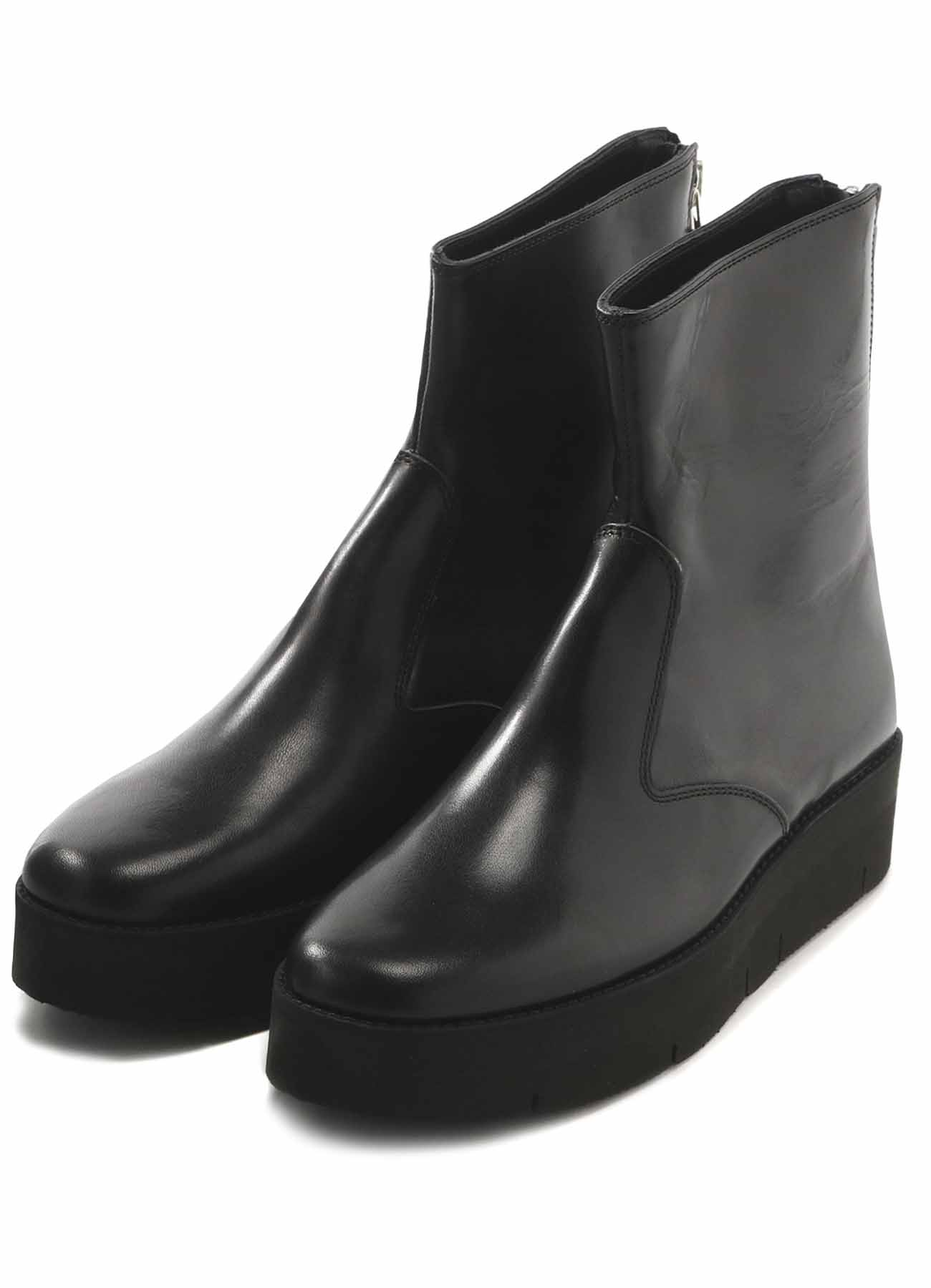 SHINING LEATHER BACK ZIP BOOTS